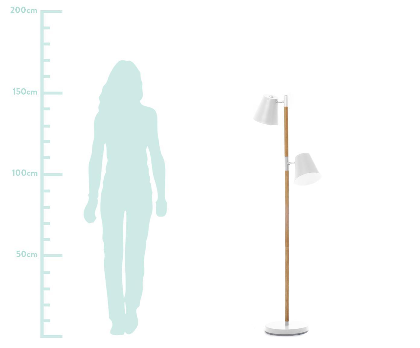 Vloerlamp Rubi, Gecoat metaal, hout, Wit, Ø 18 x H 150 cm