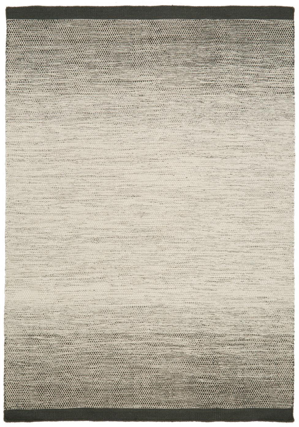 Handgewebter Wollteppich Lule mit Farbverlauf in Beige/Grün, 70% Wolle, 30% Baumwolle, Dunkelgrün, Beige, B 170 x L 240 cm (Größe M)