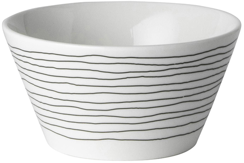 Ciotola Eris Loft, 4 pz., Porcellana, Bianco, nero, Ø 10 x A 6 cm
