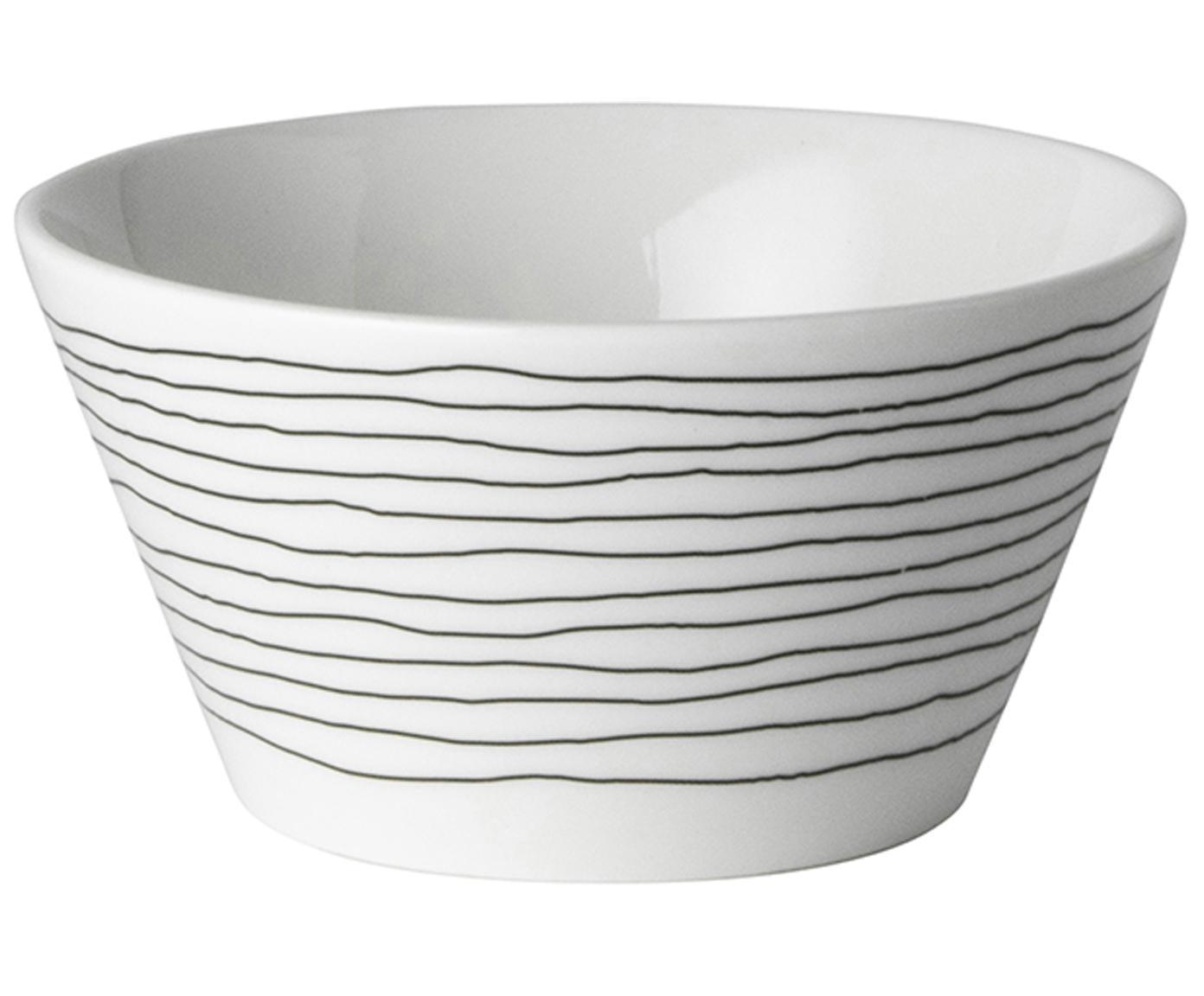 Schälchen Eris Loft mit Liniendekor, 4 Stück, Porzellan, Weiss, Schwarz, Ø 10 x H 6 cm