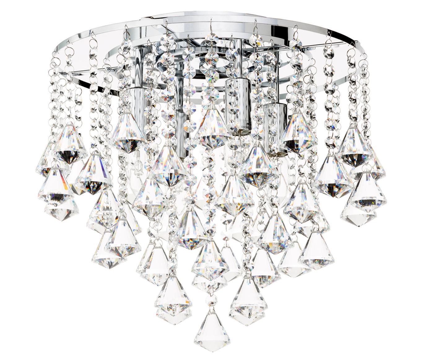 Plafón con crsitales Dorchester, Anclaje: metal cromado, Adornos: vidrio, Transparente, cromo, Ø 50 x Al 50
