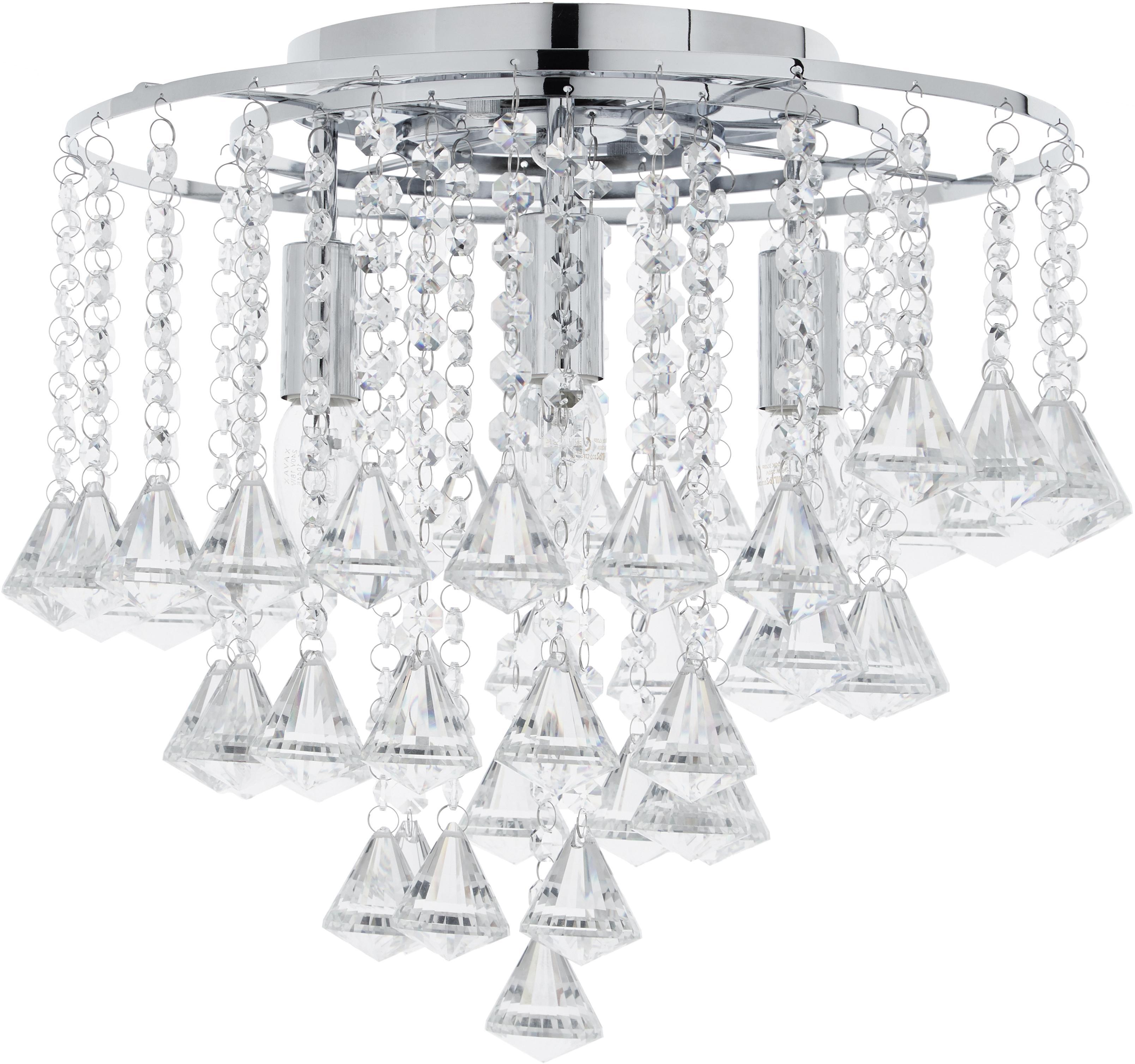 Plafondlamp Dorchester met glaskristallen, Baldakijn: verchroomd metaal, Transparant, chroomkleurig, Ø 50 x H 50 cm