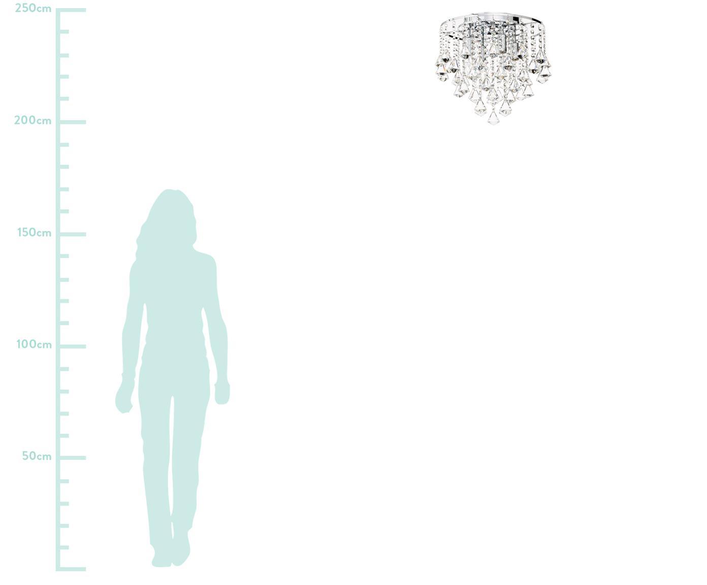 Plafonnier avec cristaux de verre Dorchester, Transparent, chrome