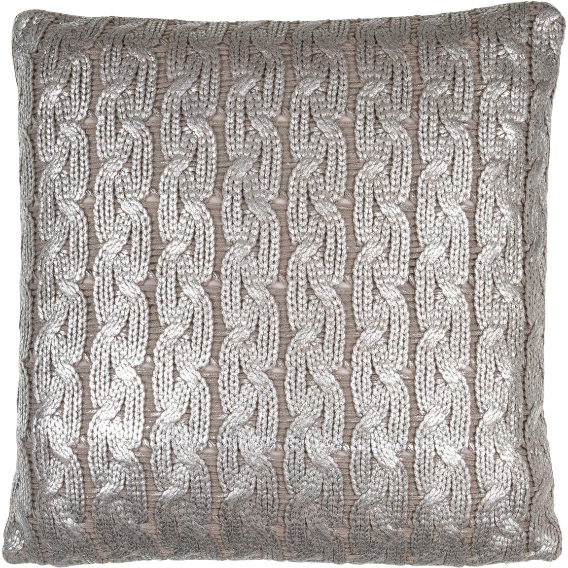 Federa arredo fatta a maglia effetto lucido Trenes, 100% acrilico, Taupe, argentato, Larg. 45 x Lung. 45 cm