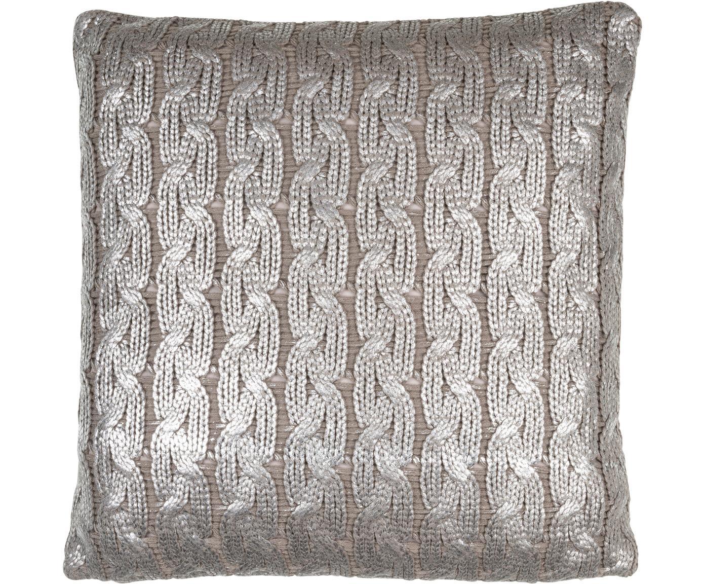 Gebreide kussenhoes Trenes glinsterend/glanzend in taupe en zilverkleur, Acryl, Taupe, zilverkleurig, 45 x 45 cm