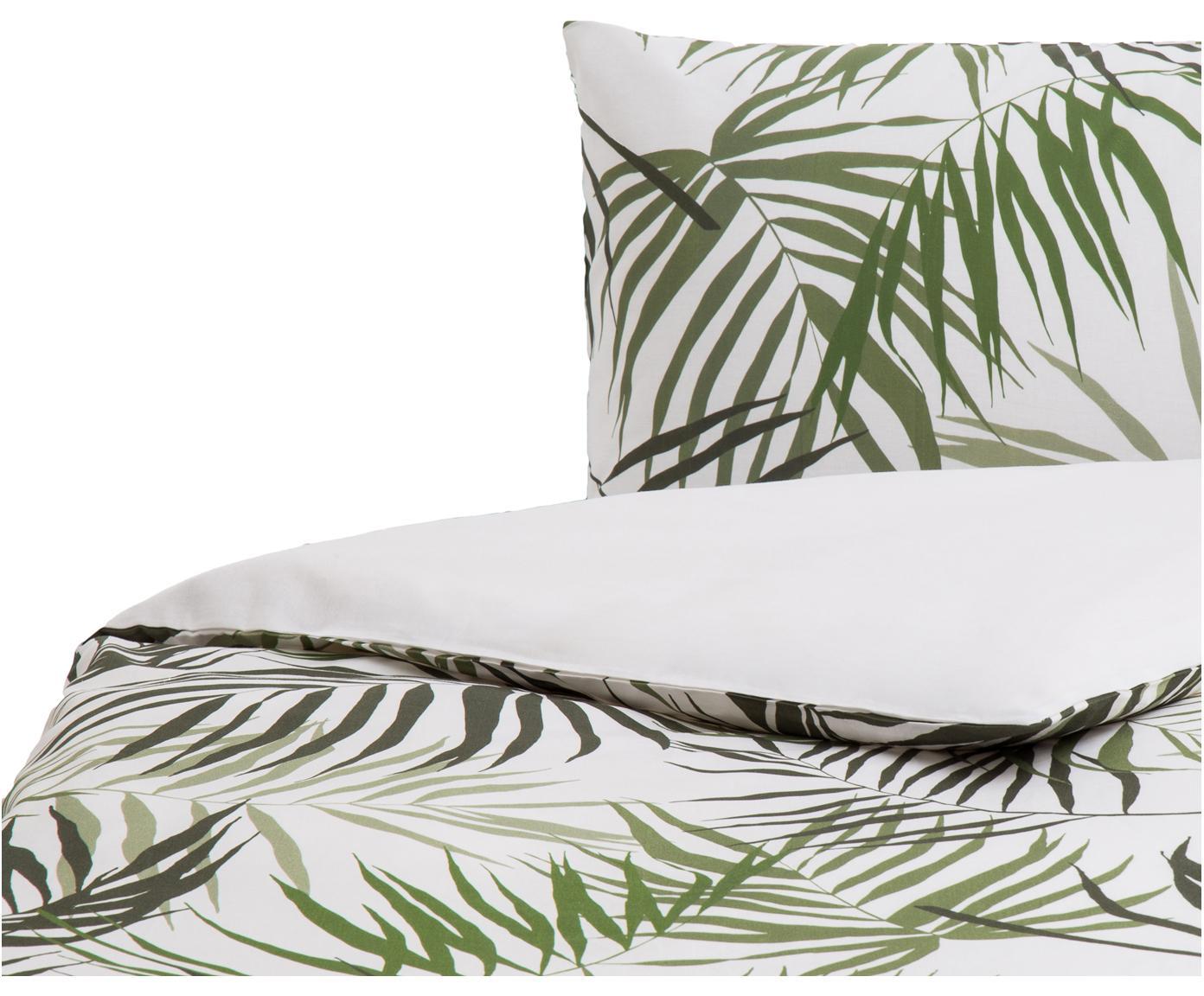 Parure copripiumino in cotone Dalor, Cotone, Fronte: verde, bianco Retro: bianco, 155 x 200 cm