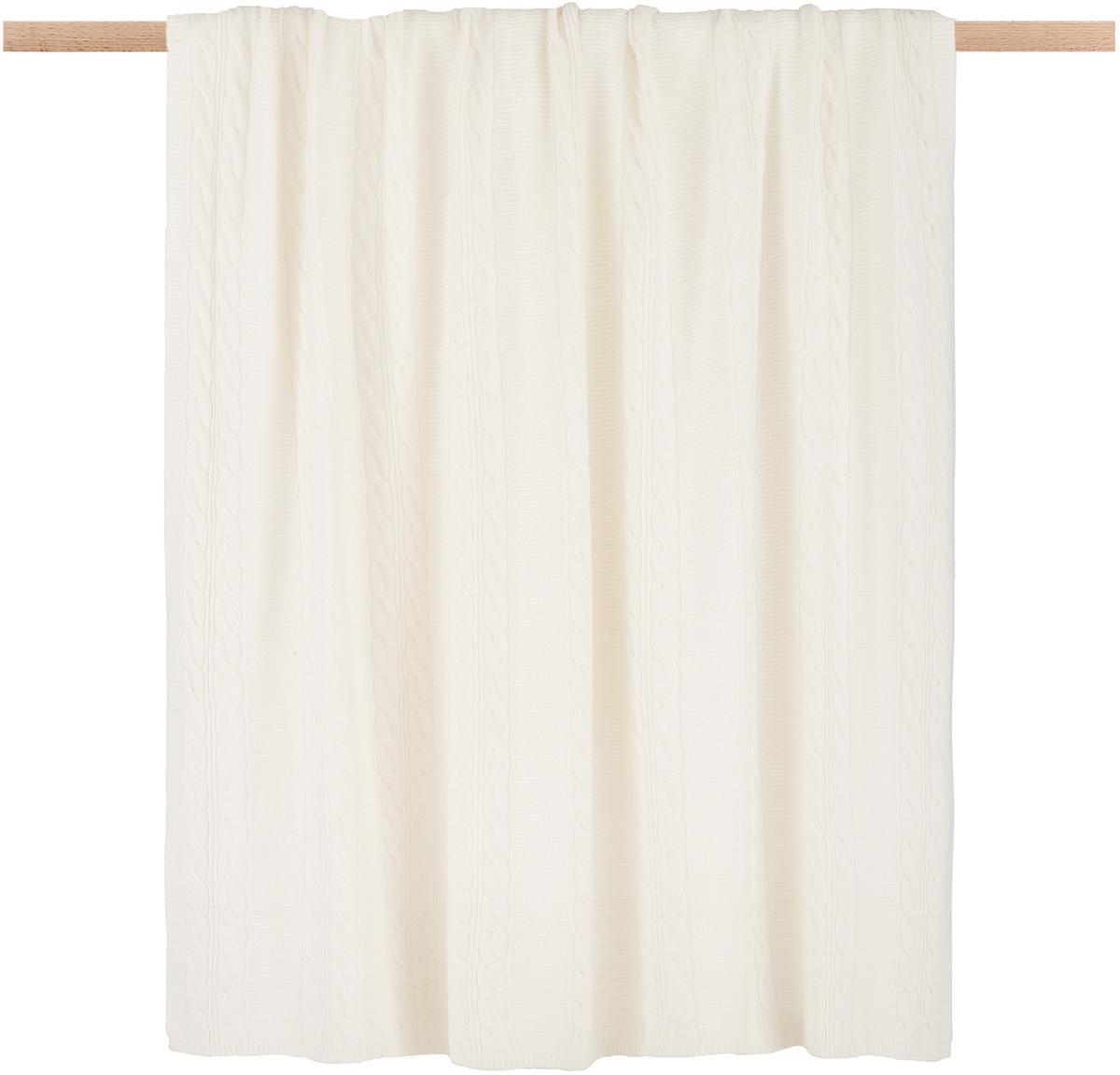 Plaid in puro cashmere Leonie con motivo a trecce, 100% cashmere Il cashmere è molto morbido, confortevole e caldo, Bianco crema, Larg. 130 x Lung. 170 cm