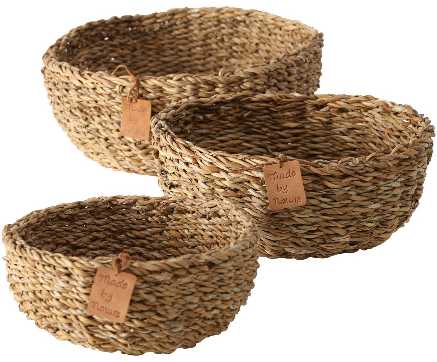 Komplet koszy do przechowywania z trawy morskiej Sophy, 3 elem., Trawa morska, Beżowy, Różne rozmiary
