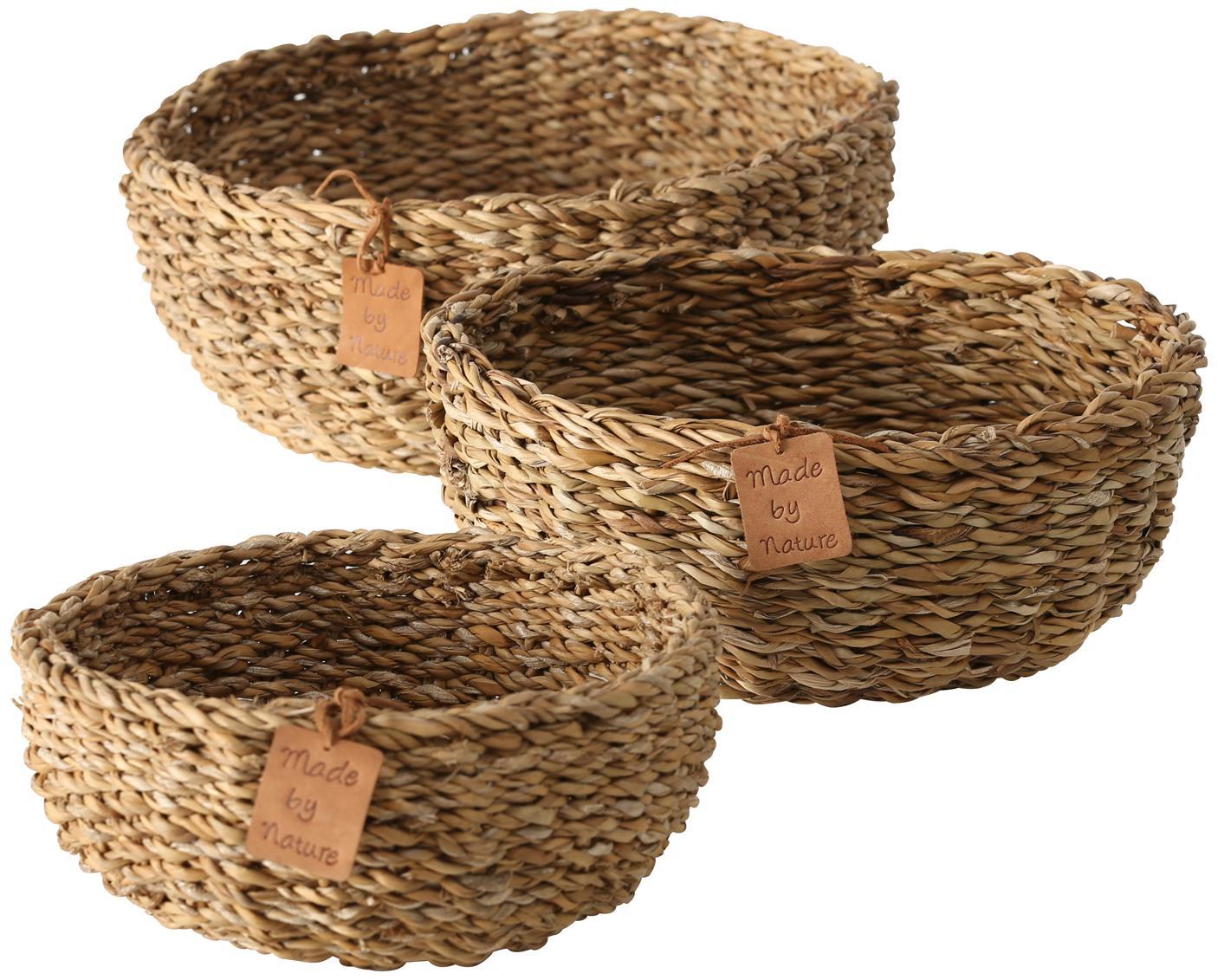 Aufbewahrungskörbe Sophy aus Seegras, 3er-Set, Seegras, Beige, Set mit verschiedenen Grössen