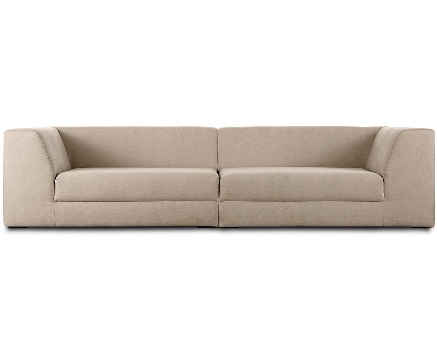 Sofa modułowa Grant (3-osobowa), Tapicerka: bawełna 20 000 cykli w te, Stelaż: drewno świerkowe, Nogi: lite drewno bukowe, lakie, Taupe, S 266 x G 106 cm