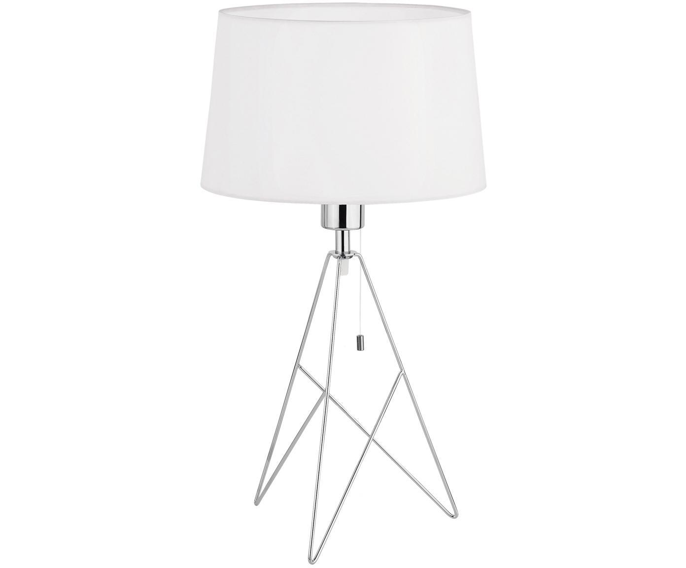 Tafellamp Camporale in zilverkleur, Lampvoet: verchroomd staal, Wit, chroomkleurig, Ø 30 x H 56 cm