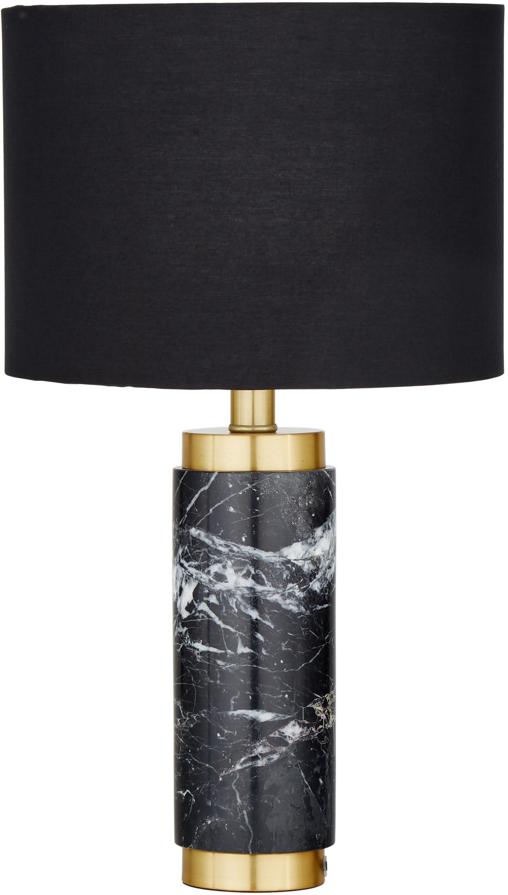 Lampada da tavolo in marmo Miranda, Paralume: tessuto, Base della lampada: marmo, ottone spazzolato, Bianco, marmo nero, Ø 28 x Alt. 48 cm