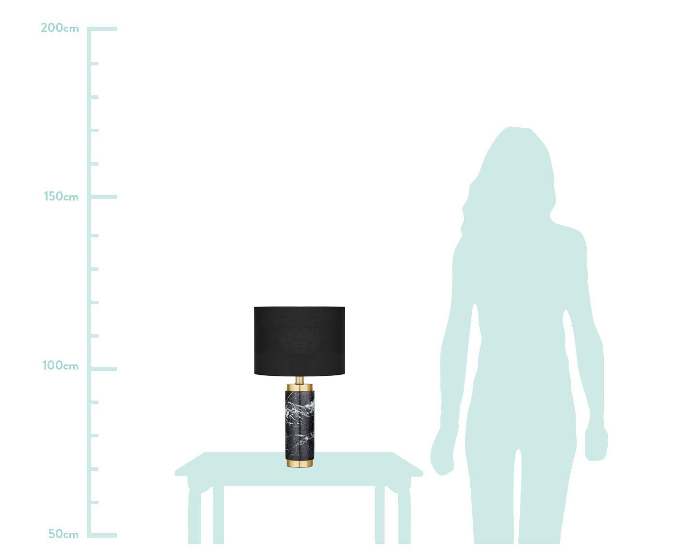 Marmeren tafellamp Miranda, Lampenkap: textiel, Lampvoet: marmer, geborsteld messin, Wit, zwart marmer, Ø 28 x H 48 cm