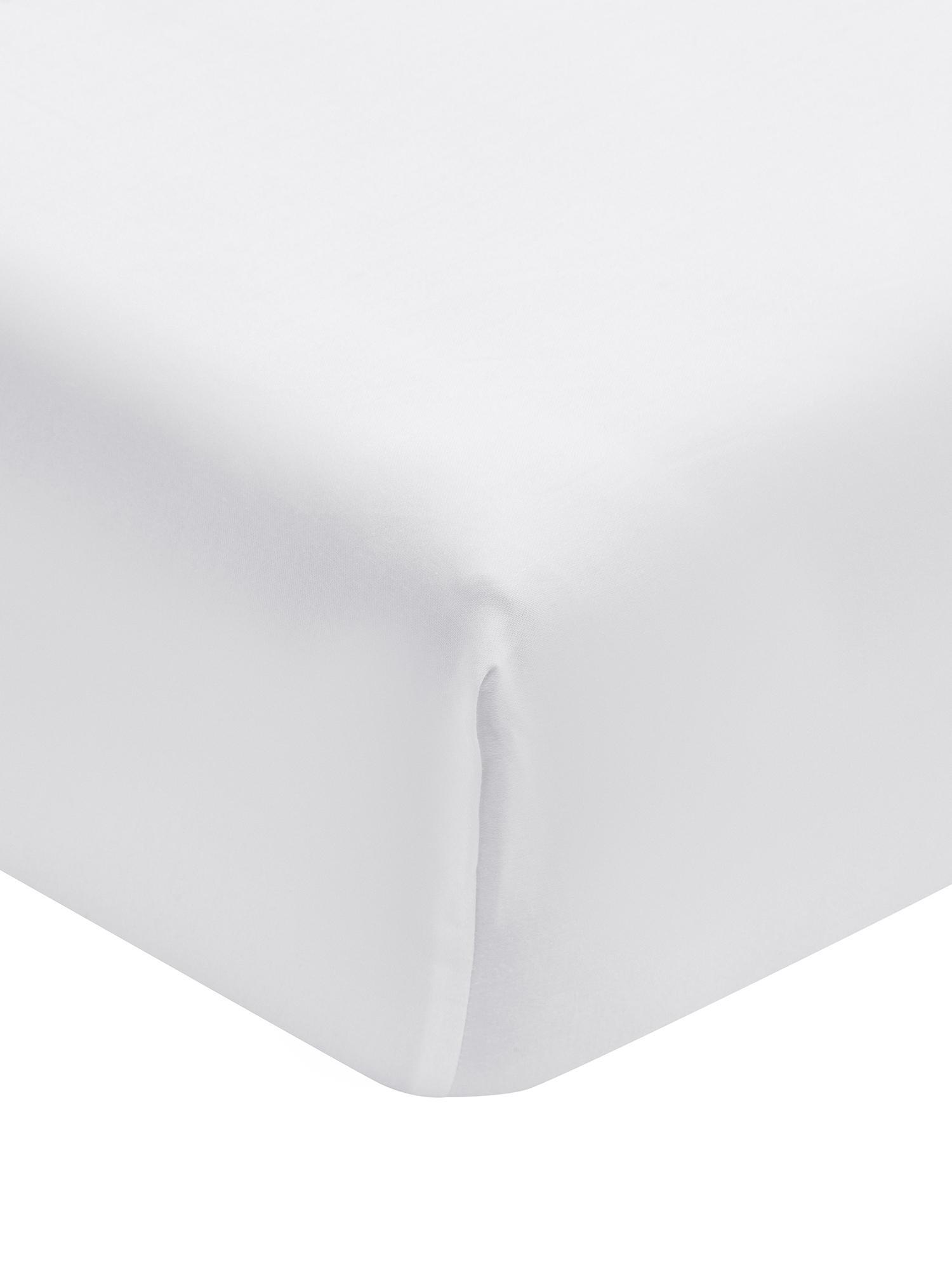 Spannbettlaken Premium in Weiß, Baumwollsatin, Webart: Satin, leicht glänzend, Weiß, 90 x 200 cm