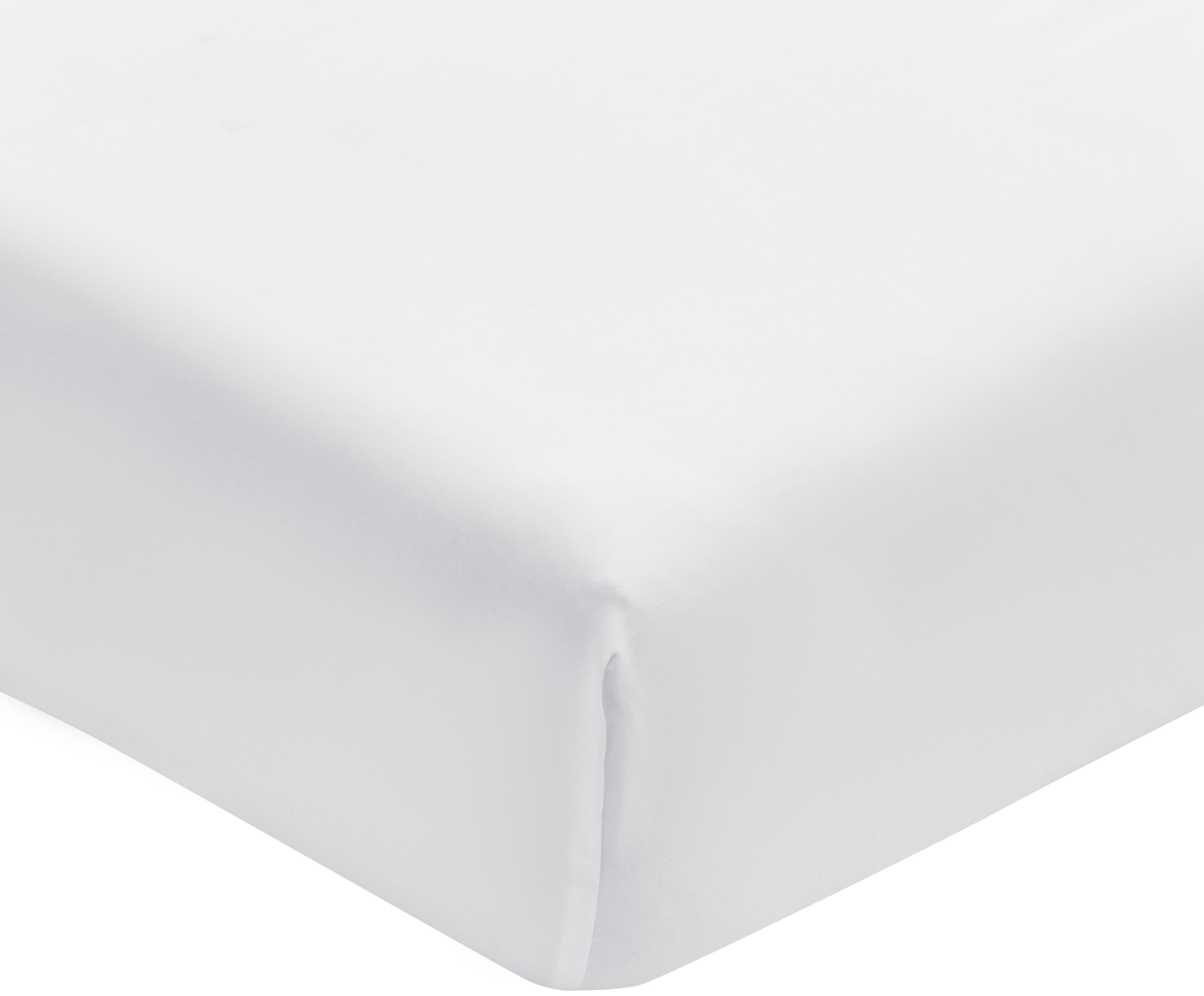 Spannbettlaken Premium in Weiss, Baumwollsatin, Webart: Satin, leicht glänzend, Weiss, 90 x 200 cm