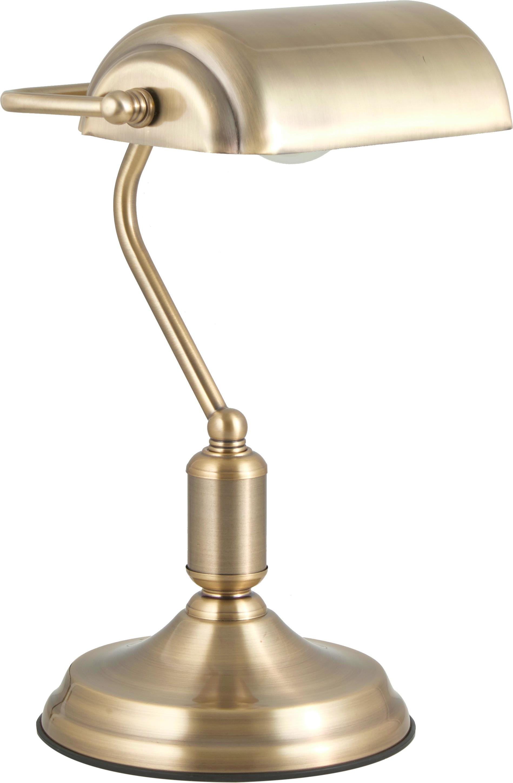 Retro-Schreibtischlampe Bank aus Metall, Lampenschirm: Metall, beschichtet, Messingfarben, 22 x 34 cm