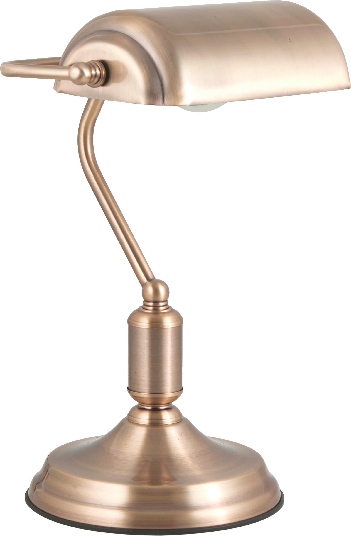 Lampa biurkowa retro Bank, Odcienie mosiądzu, S 22 x W 34 cm