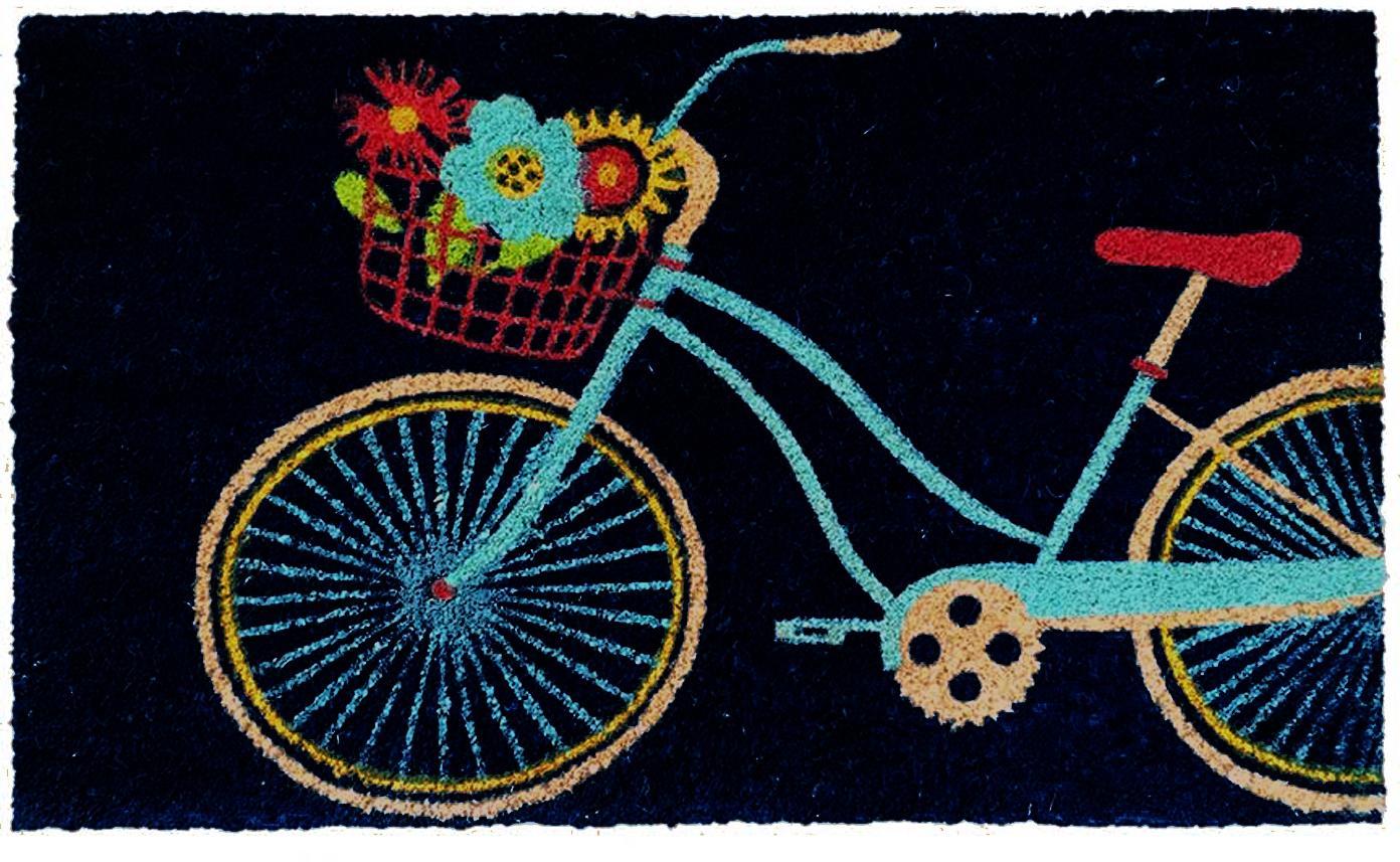 Fussmatte Bicycle, Oberseite: Kokosfaser, Unterseite: Kunststoff (PVC), Schwarz, Mehrfarbig, 45 x 75 cm