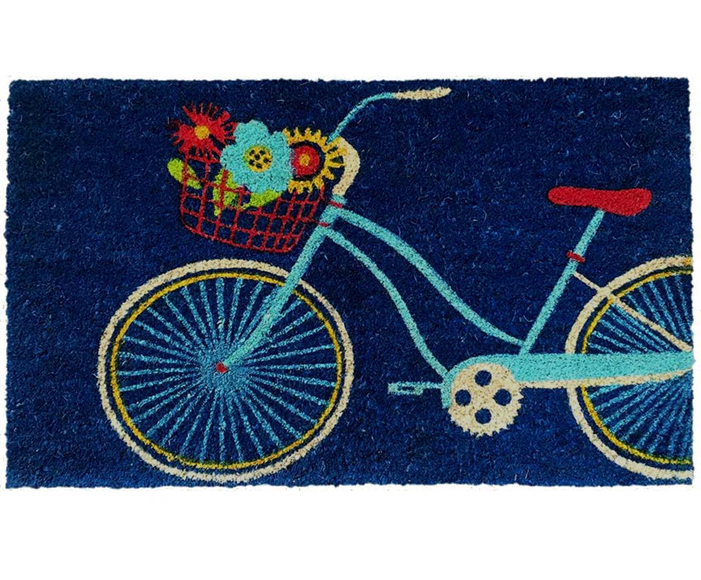 Felpudo Bicycle, Parte superior: fibras de coco, Reverso: plástico (PVC), Azul oscuro, multicolor, An 45 x L 75 cm