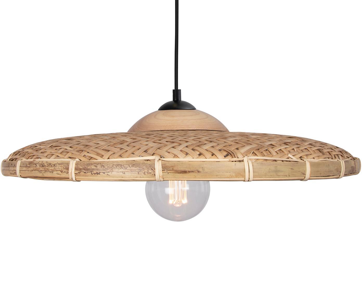 Lampada a sospensione in rattan Aruba, Paralume: rattan, Baldacchino: metallo rivestito, Rattan, Ø 50 x Alt. 15 cm