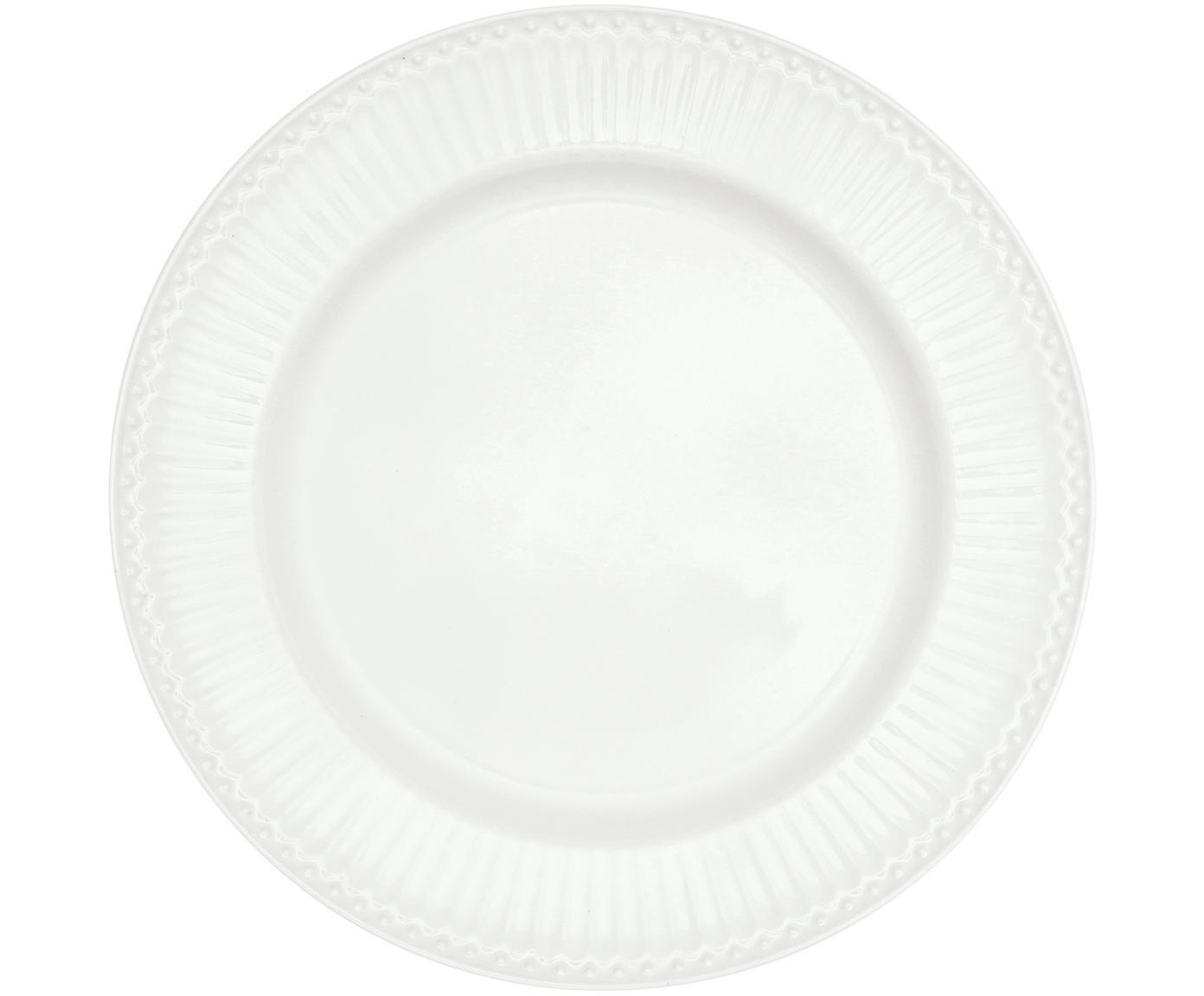 Handgefertigte Speiseteller Alice in Weiß mit Reliefdesign, 2 Stück, Steingut, Weiß, Ø 27 cm