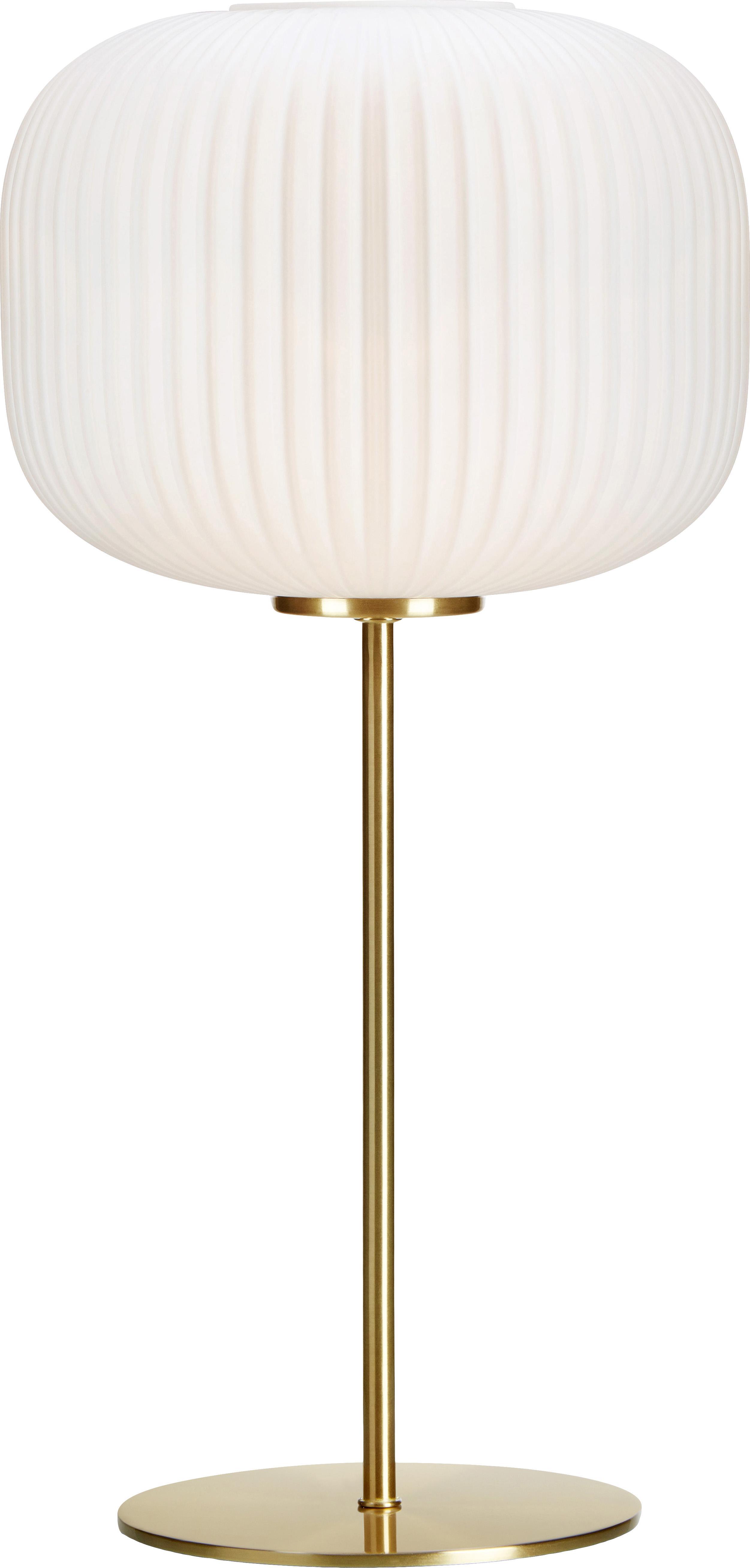 Tafellamp Sober, Glas, geborsteld metaal, Wit, messingkleurig, Ø 25 x H 50 cm