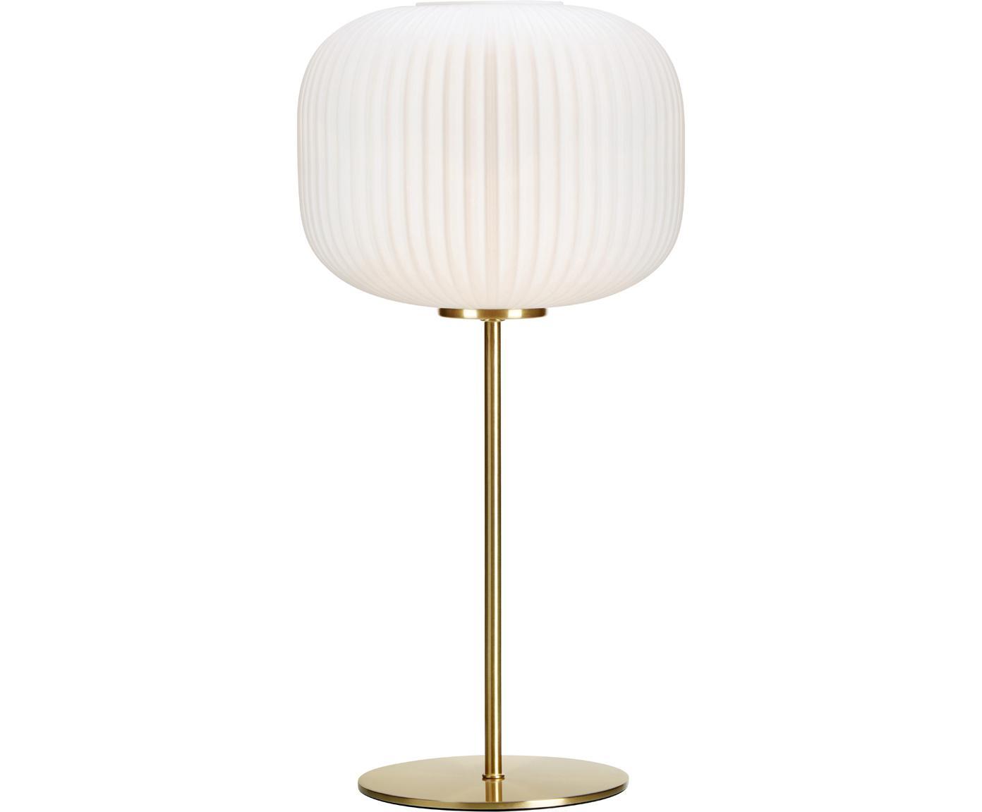Tischleuchte Sober mit Glasschirm, Lampenschirm: Glas, Lampenfuß: Metall, gebürstet, Weiß, Gold, Ø 25 x H 50 cm