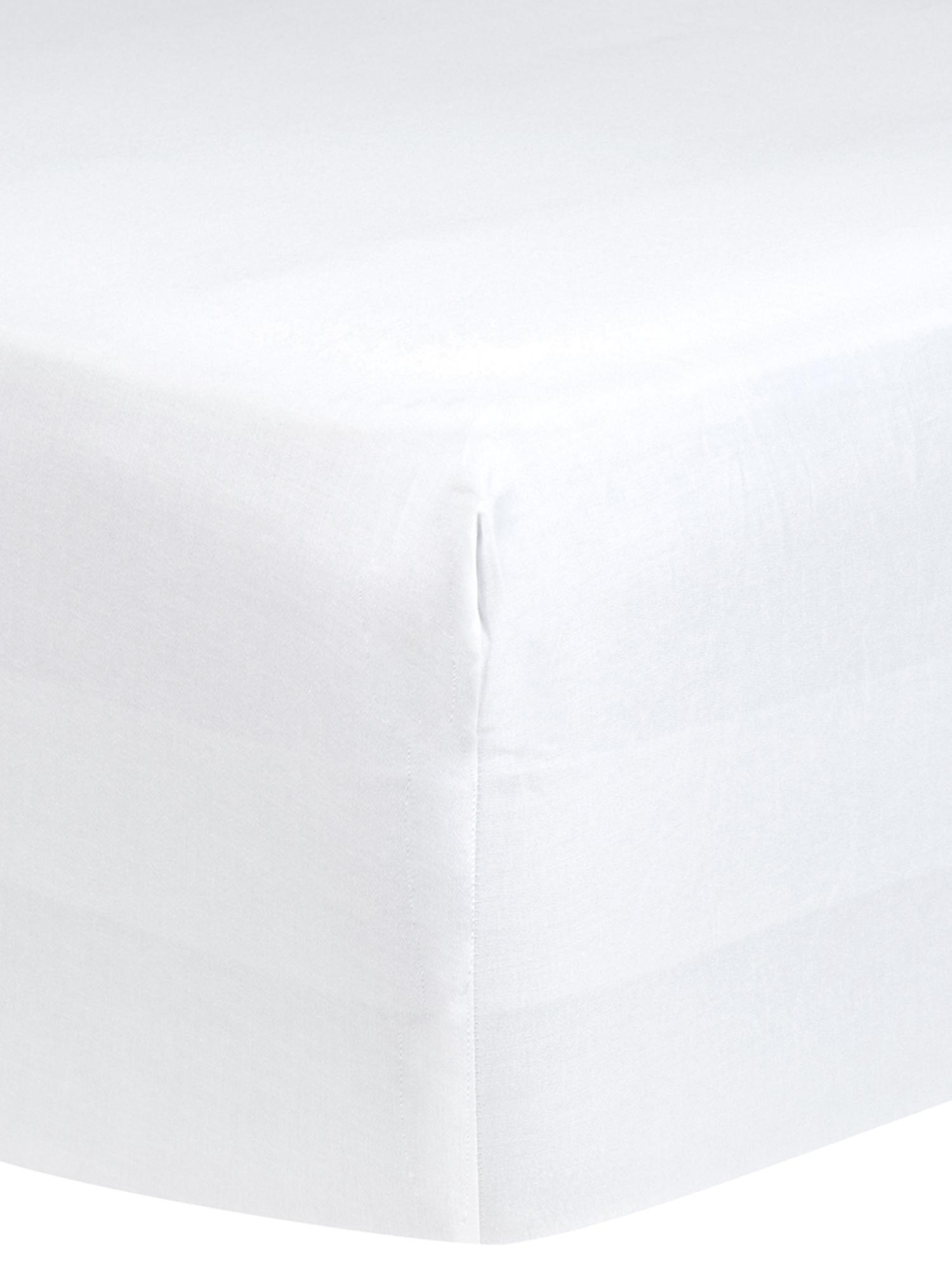 Lenzuolo con angoli in raso di cotone Comfort, Bianco, Larg. 160 x Lung. 200 cm