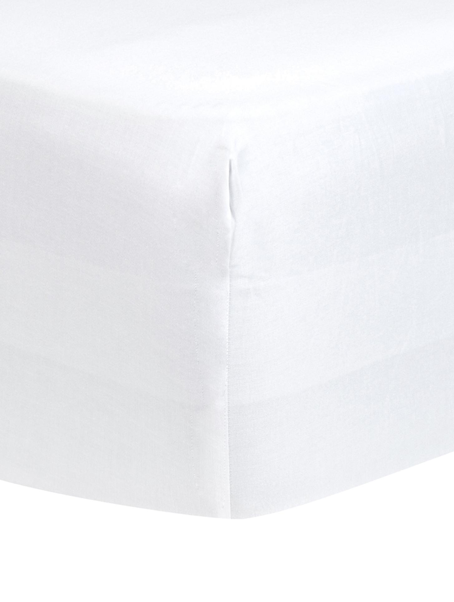 Boxspring-Spannbettlaken Comfort, Baumwollsatin, Webart: Satin, leicht glänzend, Weiß, 160 x 200 cm