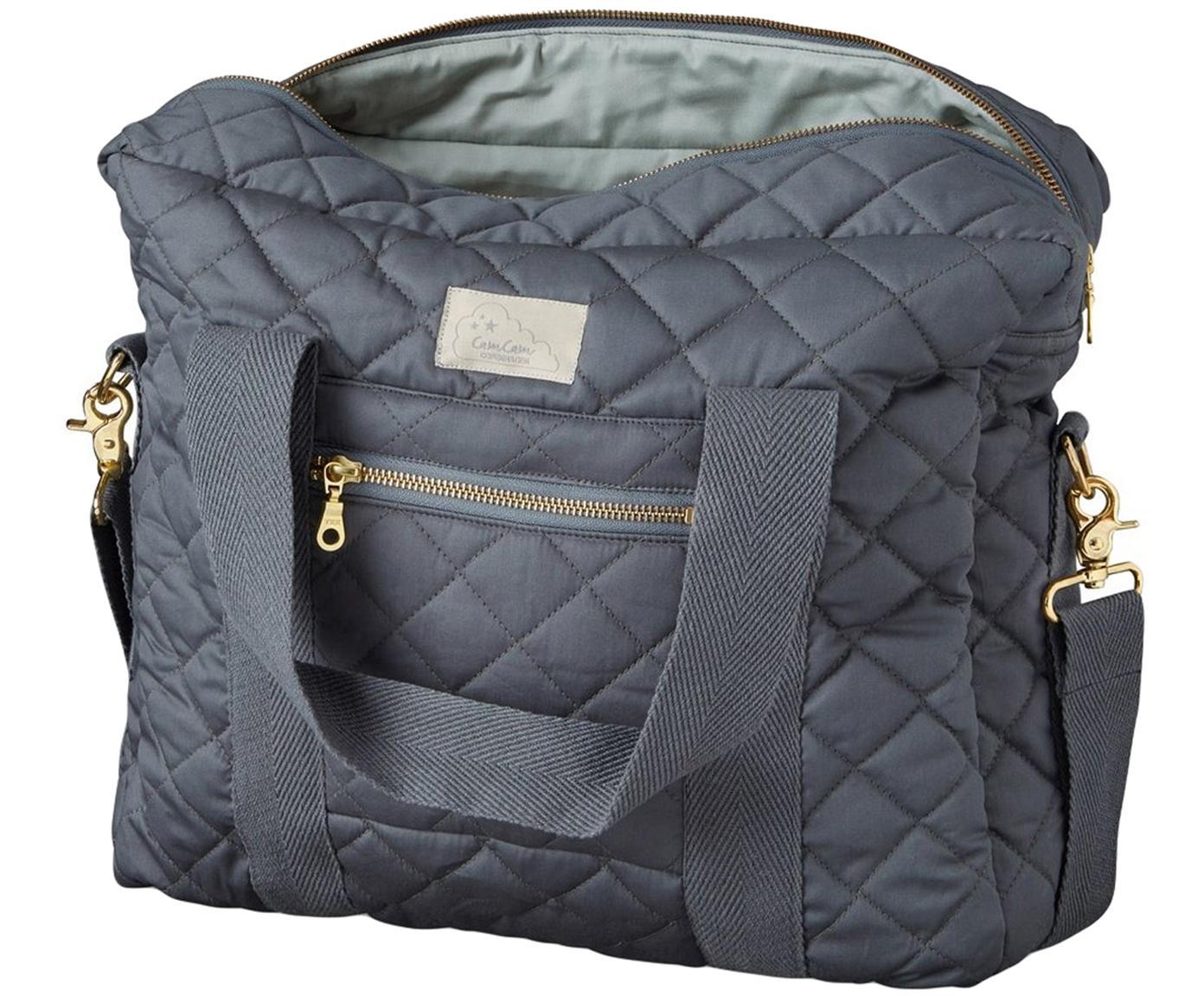 Bolsa para pañales de algodón ecológico Camila, Exterior: algodón ecológico, certif, Gris, An 39 x Al 31 cm