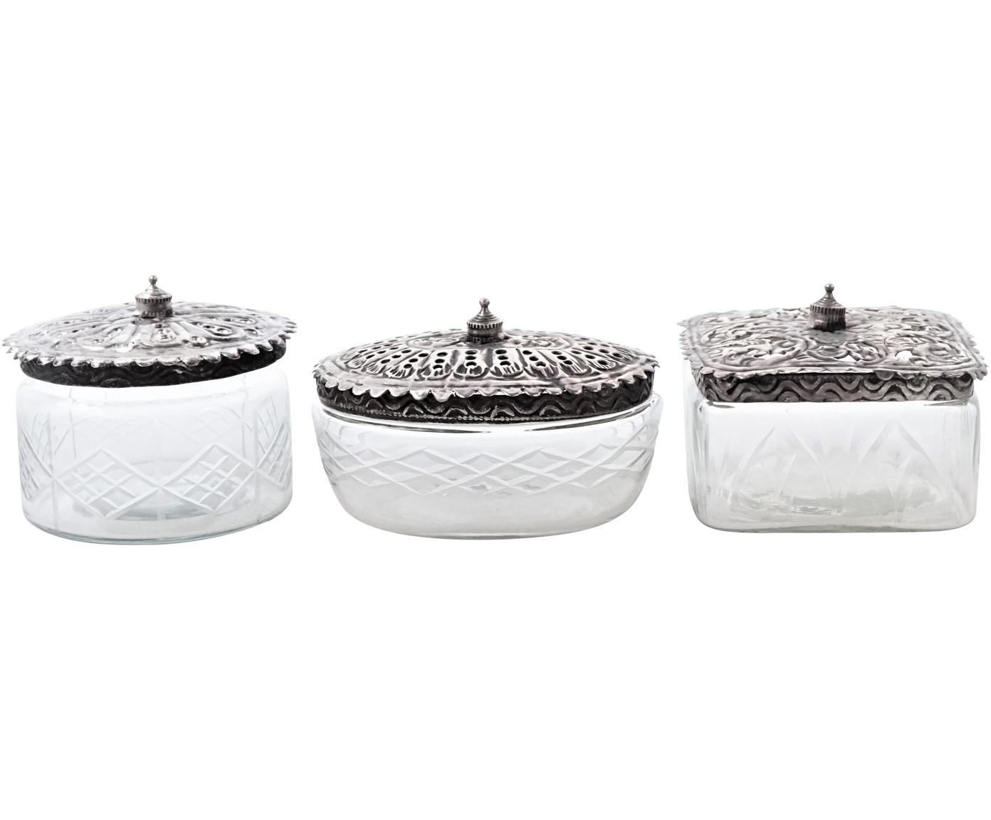 Aufbewahrungsdosen-Set Alhambra, 3-tlg., Dosen: Glas, Deckel: Metall, Transparent, Schwarz, Sondergrößen