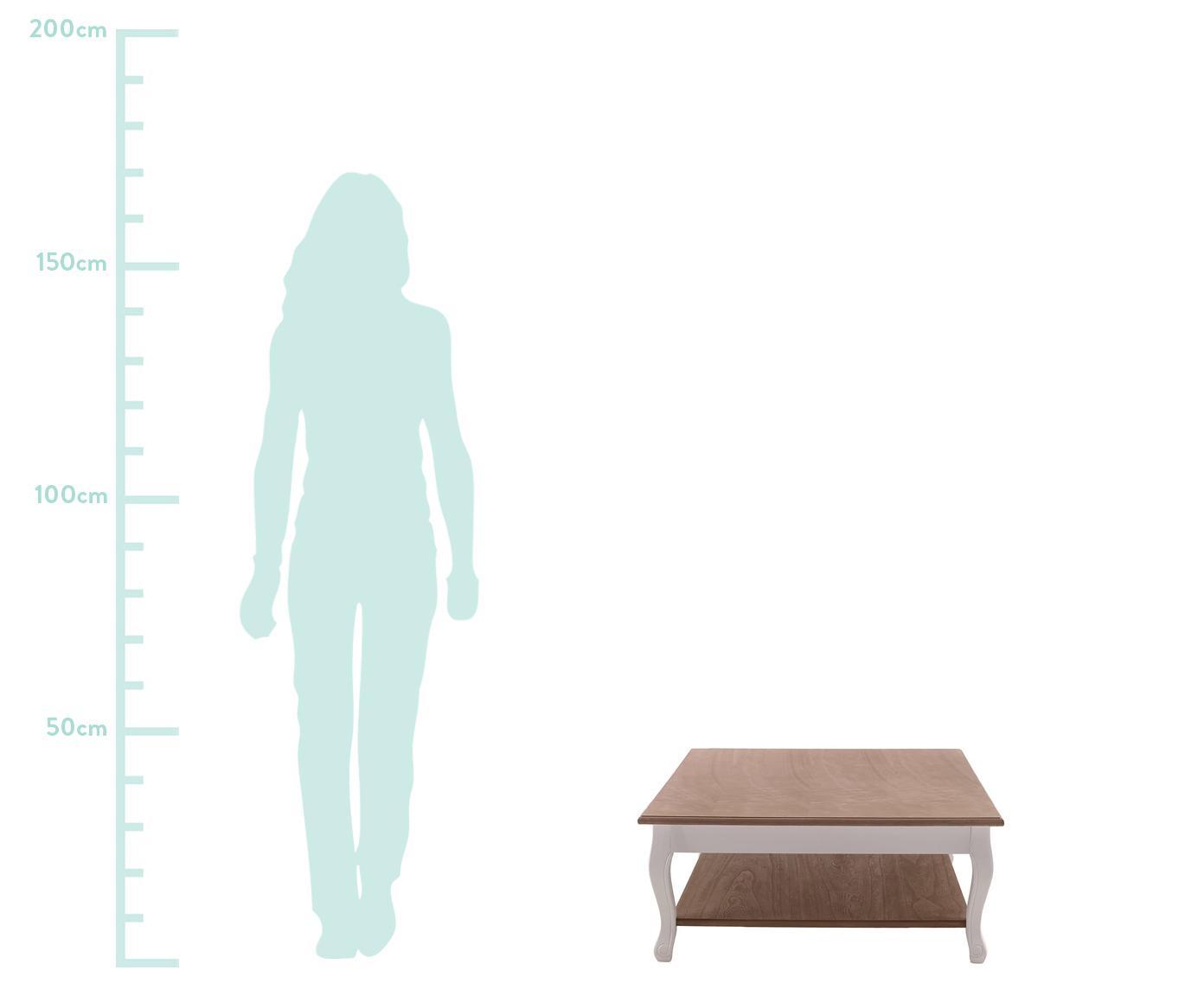 Mesa de centro Woodi, Madera de abeto, Beige, marfil, An 80 x Al 35 cm