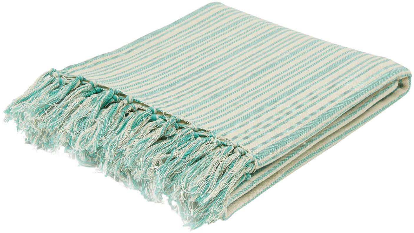 Colcha con flecos Puket, 100%algodón, Turquesa, blanco crudo, An 240 x L 260 cm