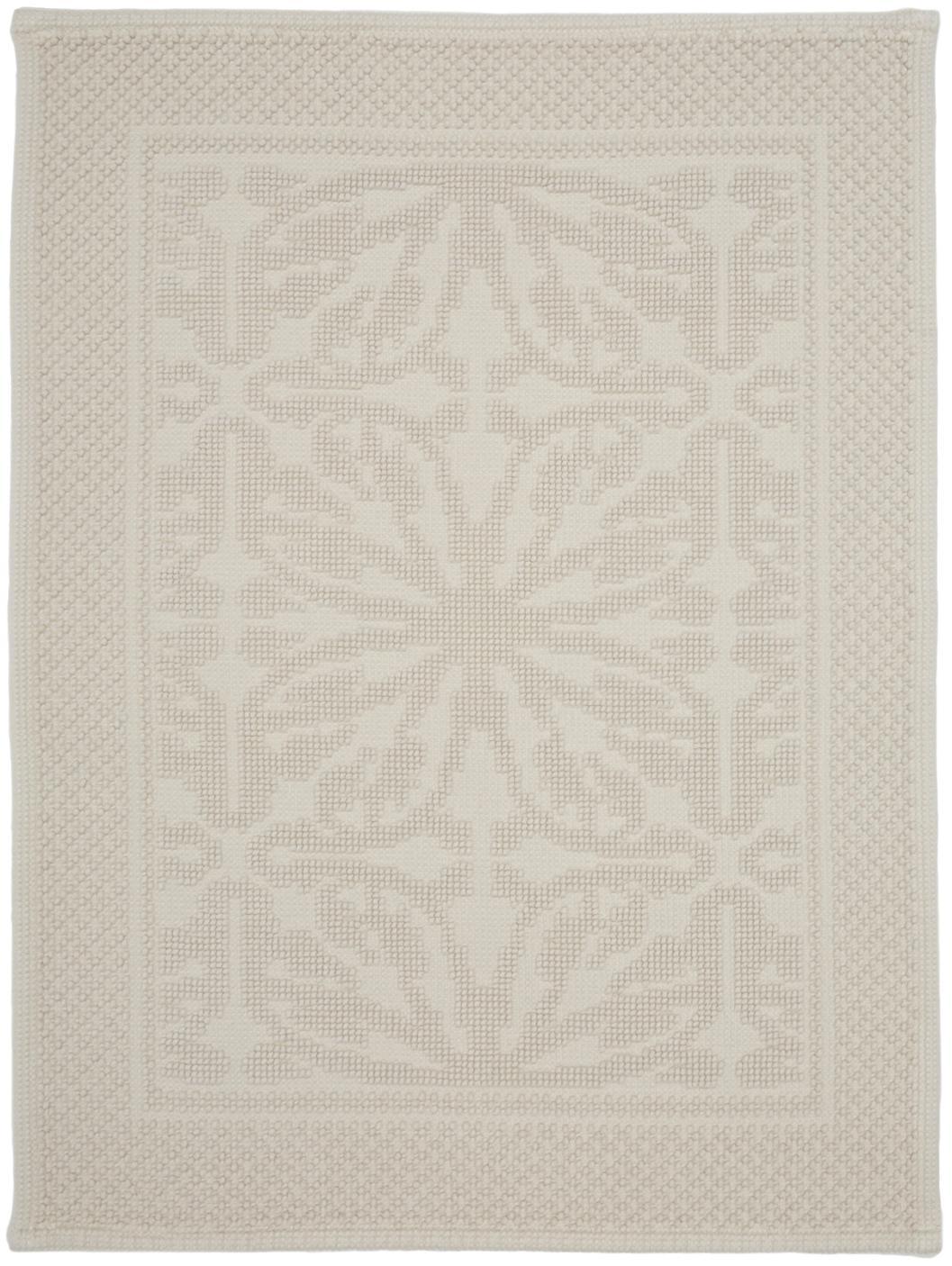 Badvorleger Hammam mit Hoch-Tief-Muster, 100% Baumwolle, schwere Qualität, 1700 g/m², Gebrochenes Weiß, 60 x 80 cm
