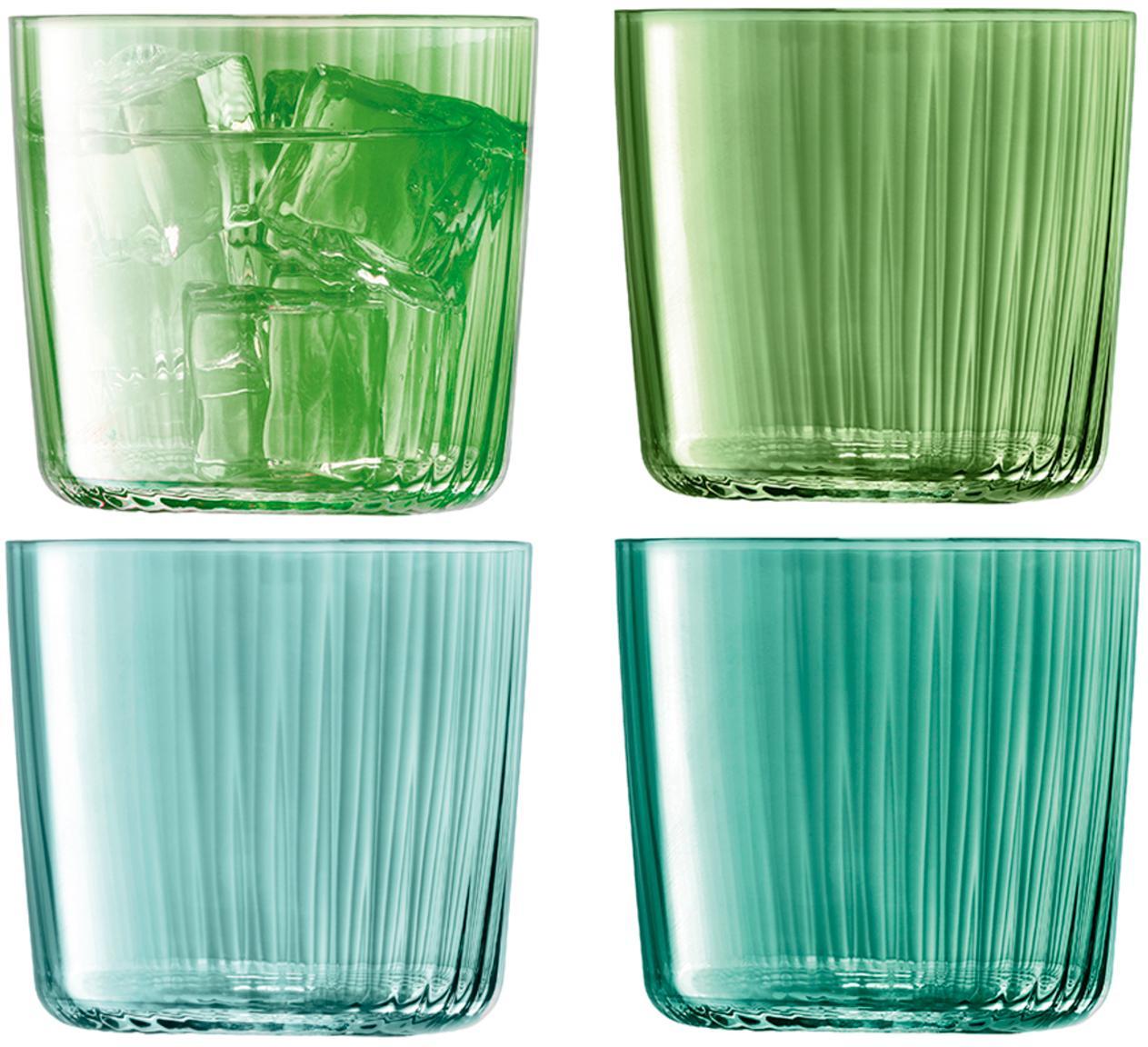 Set 4 bicchieri acqua in vetro soffiato Gemme, Vetro, gonfiabile, Tonalità verde, Ø 8 x Alt. 7 cm