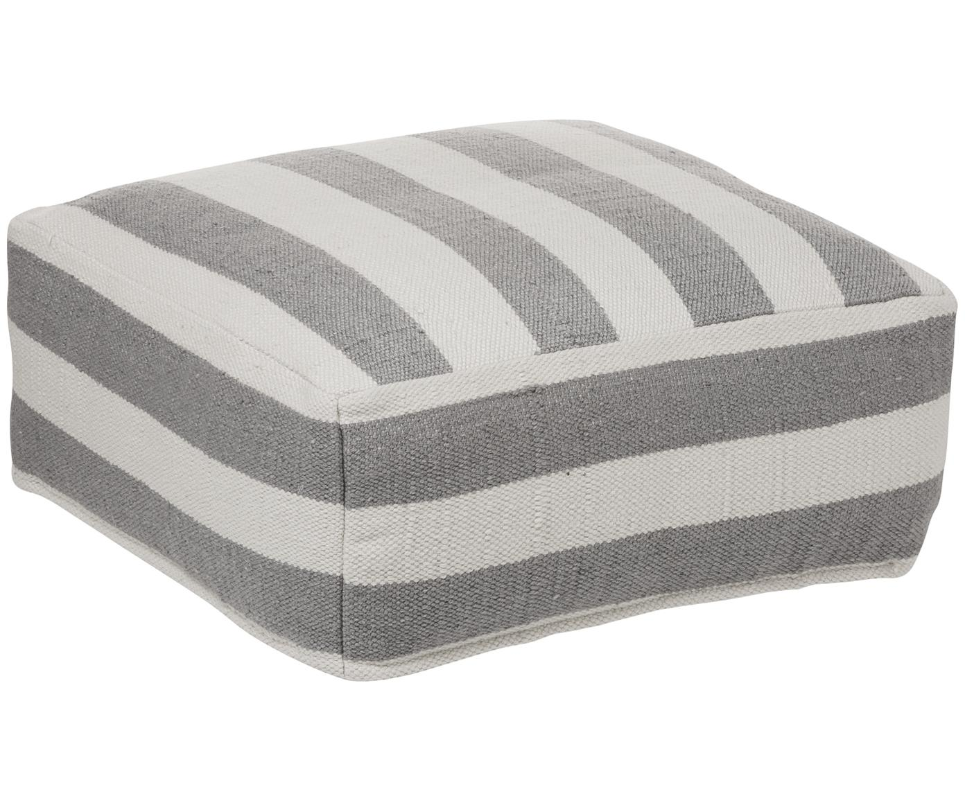 Handgewebtes In- und Outdoor-Bodenkissen Lani, Bezug: 100% Polyester, recycelt, Grau, Ecru, 63 x 30 cm