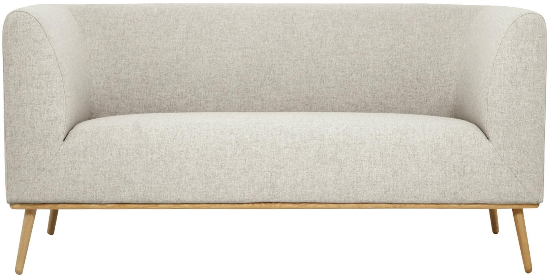 Bank Archie (2-zits), Bekleding: 100% wol, Frame: grenenhout, Poten: geolied massief eikenhout, Beige, B 162 x D 90 cm