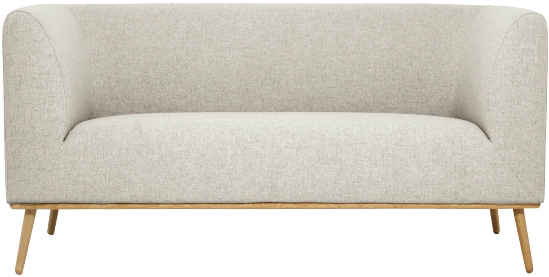 Divano  2 posti in tessuto beige Archie, Rivestimento: 100% lana 30.000 cicli di, Struttura: legno di pino, Piedini: legno di quercia massicci, Tessuto beige, Larg. 162 x Prof. 90 cm