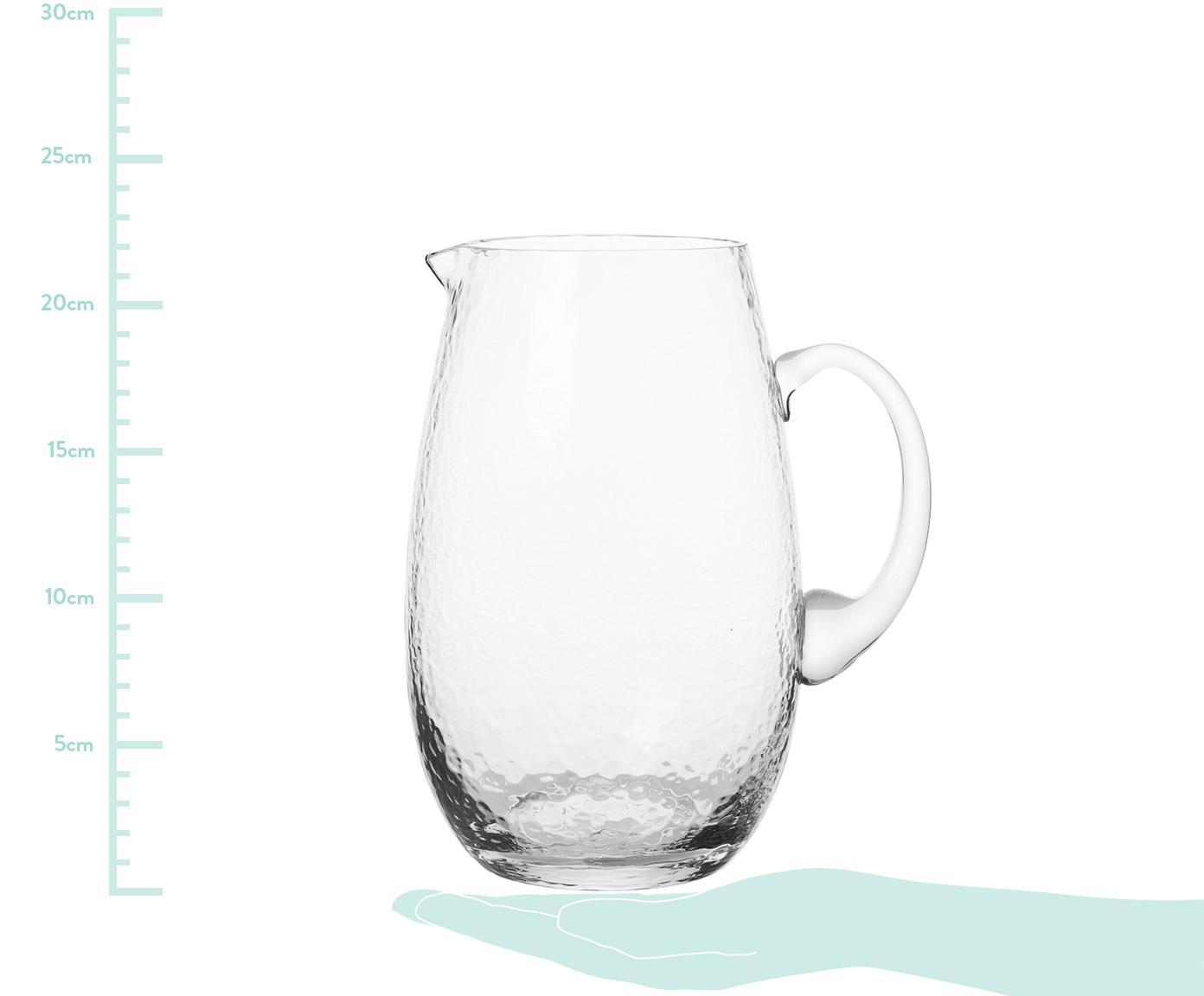 Mundgeblasener Krug Hammered, Glas, mundgeblasen, Transparent, 2 L