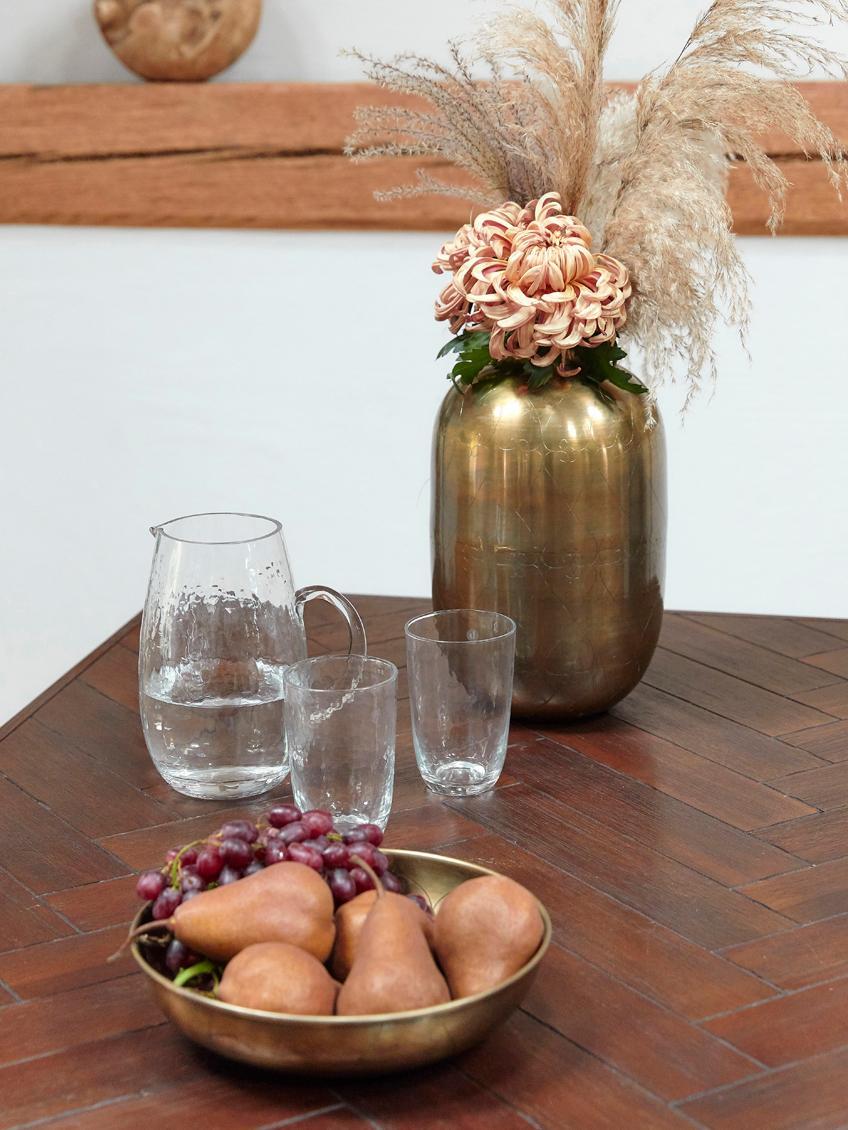 Jarra de vidrio soplado Hammered, Vidrio soplado artesanalmente, Transparente, 2 L
