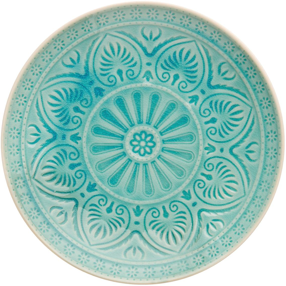 Plato postre artesanales Sumatra, Gres, Turquesa, Ø 21 cm