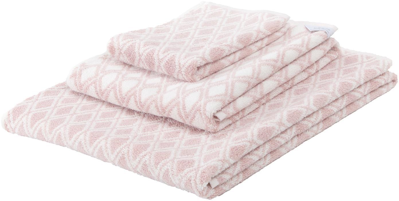 Dubbelzijdige handdoekenset Ava, 3-delig, 100% katoen, middelzware kwaliteit, 550 g/m², Roze, crèmewit, Set met verschillende formaten
