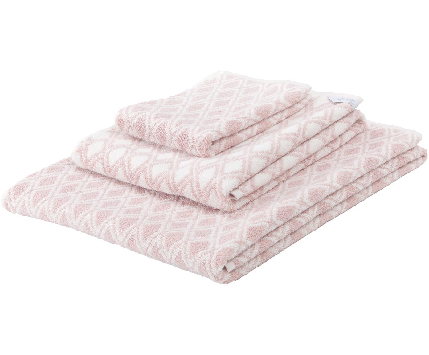 Komplet dwustronnych ręczników Ava, 3elem., Blady różowy, kremowobiały, Różne rozmiary