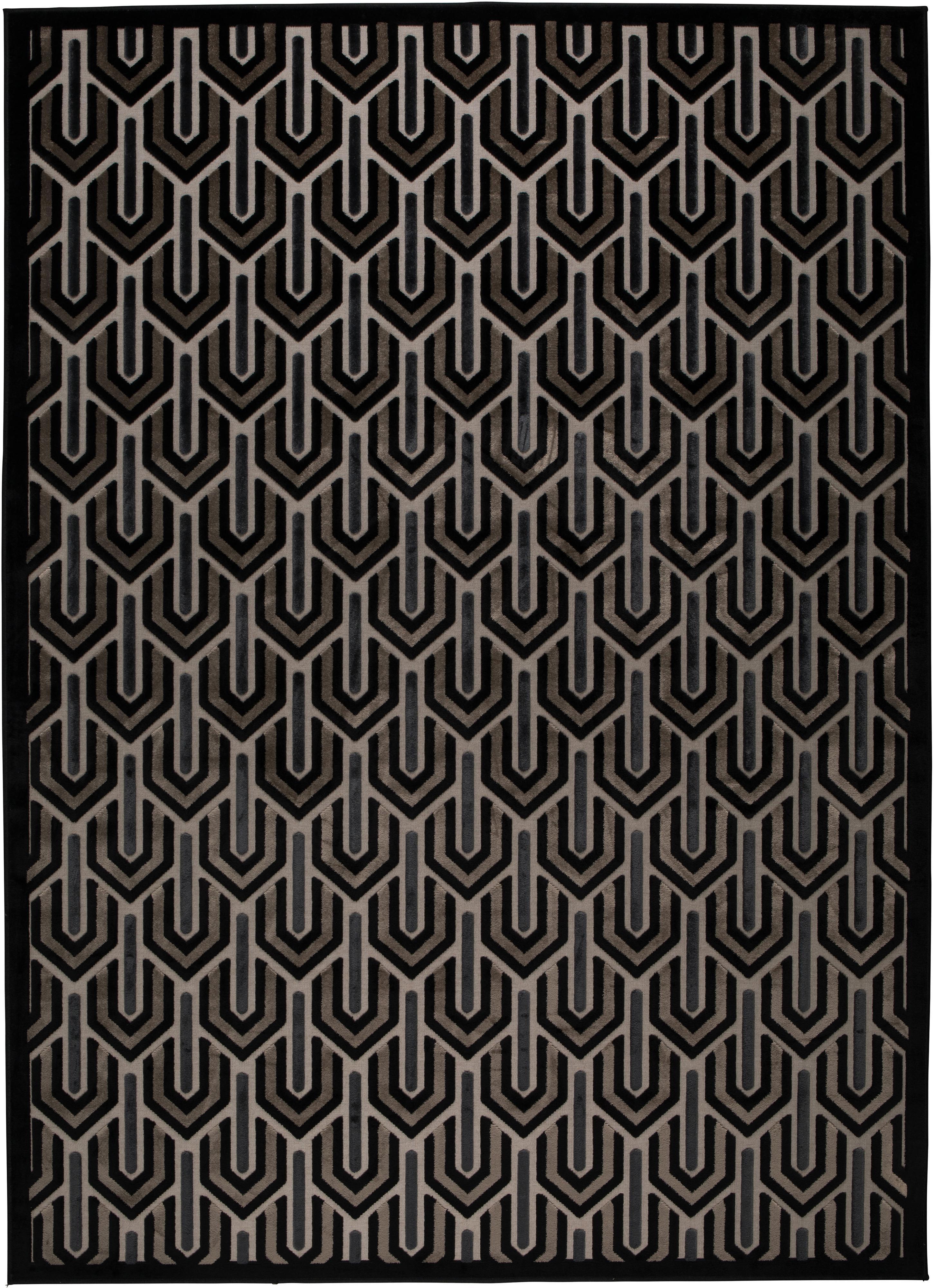 Teppich Beverly mit Hoch-Tief-Struktur, Flor: 57% Rayon, 31% Polyester,, Schwarz, Beige, Grau, B 170 x L 240 cm (Größe M)