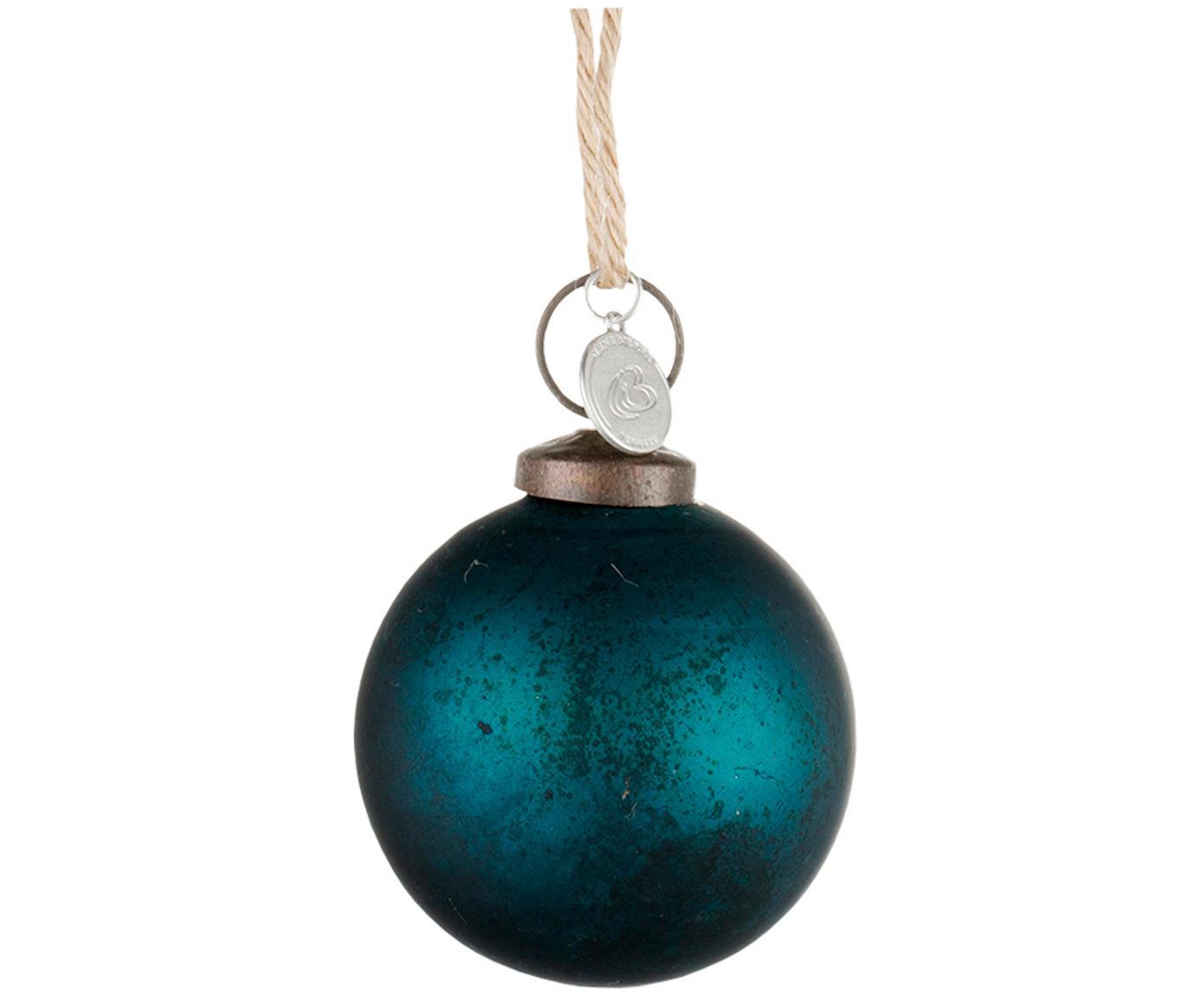 Kerstballen Cadelia, 2 stuks, Ophanglus: jute, Donkerblauw, Ø 5 cm