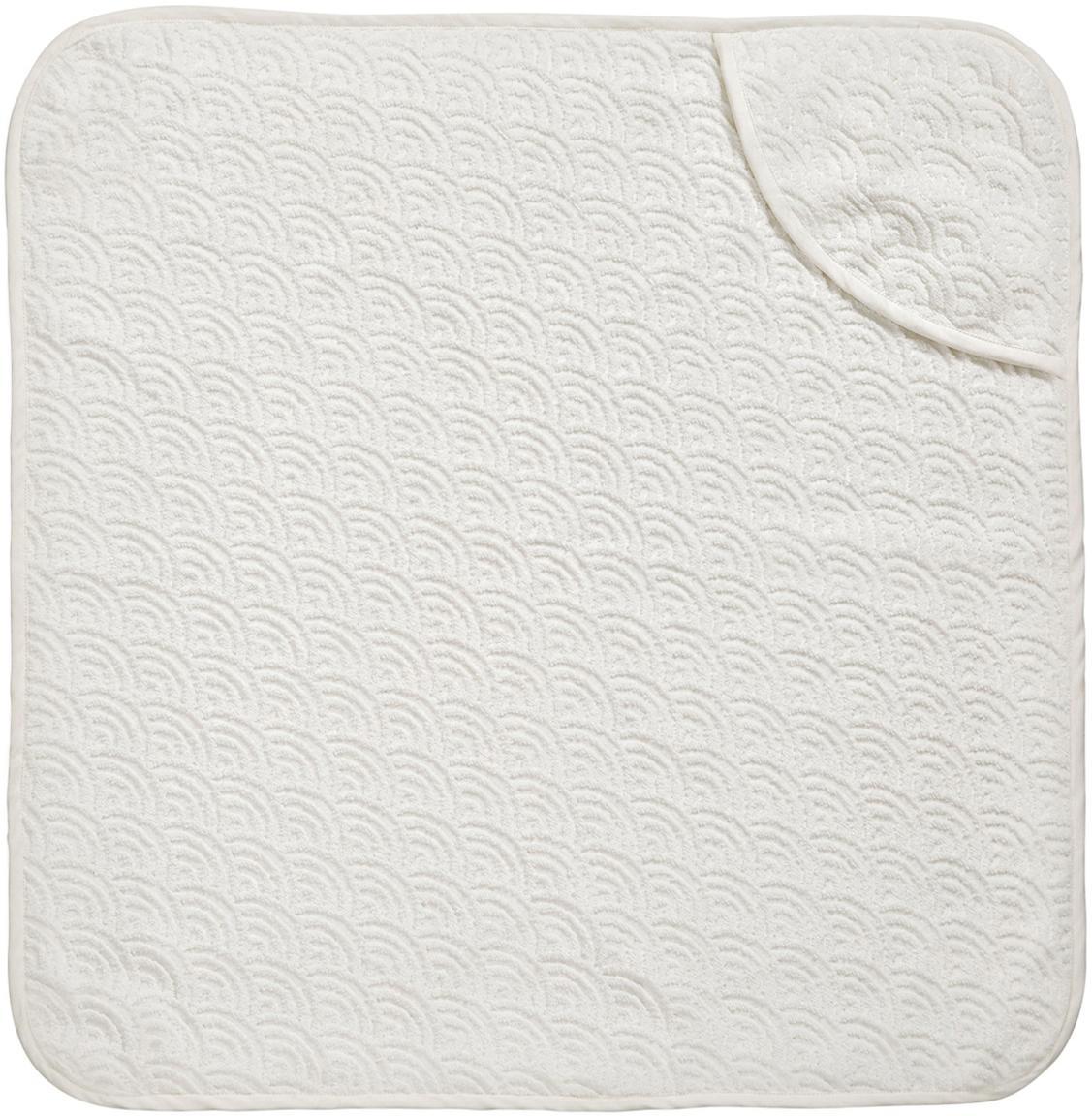 Toalla baño bebé de algodón ecológico Wave, Algodón orgánico, Blanco crudo, An 80 x L 80 cm