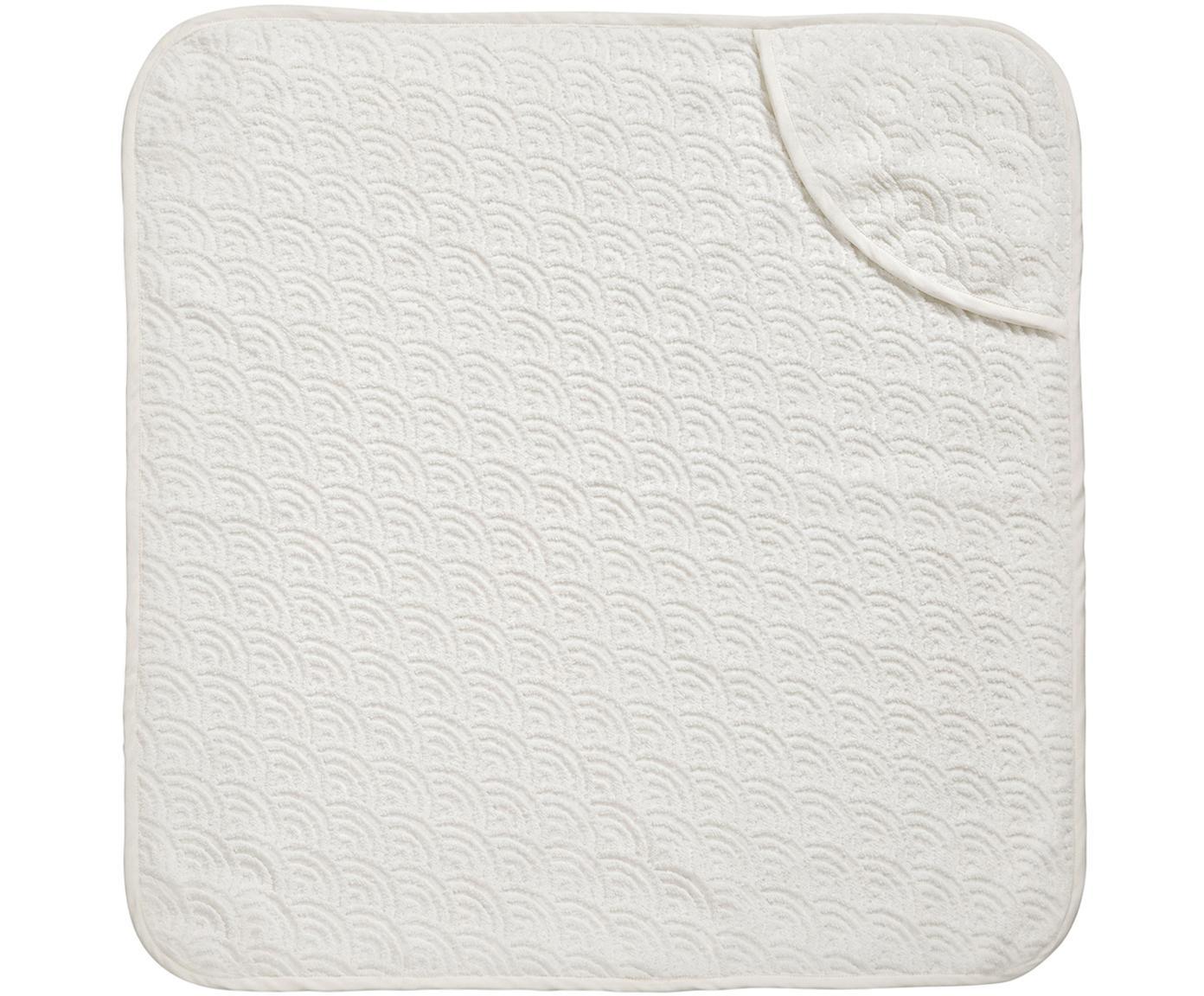 Asciugamano per bambini in cotone organico Wave, Cotone organico, certificato GOTS, Bianco spezzato, Larg. 80 x Lung. 80 cm