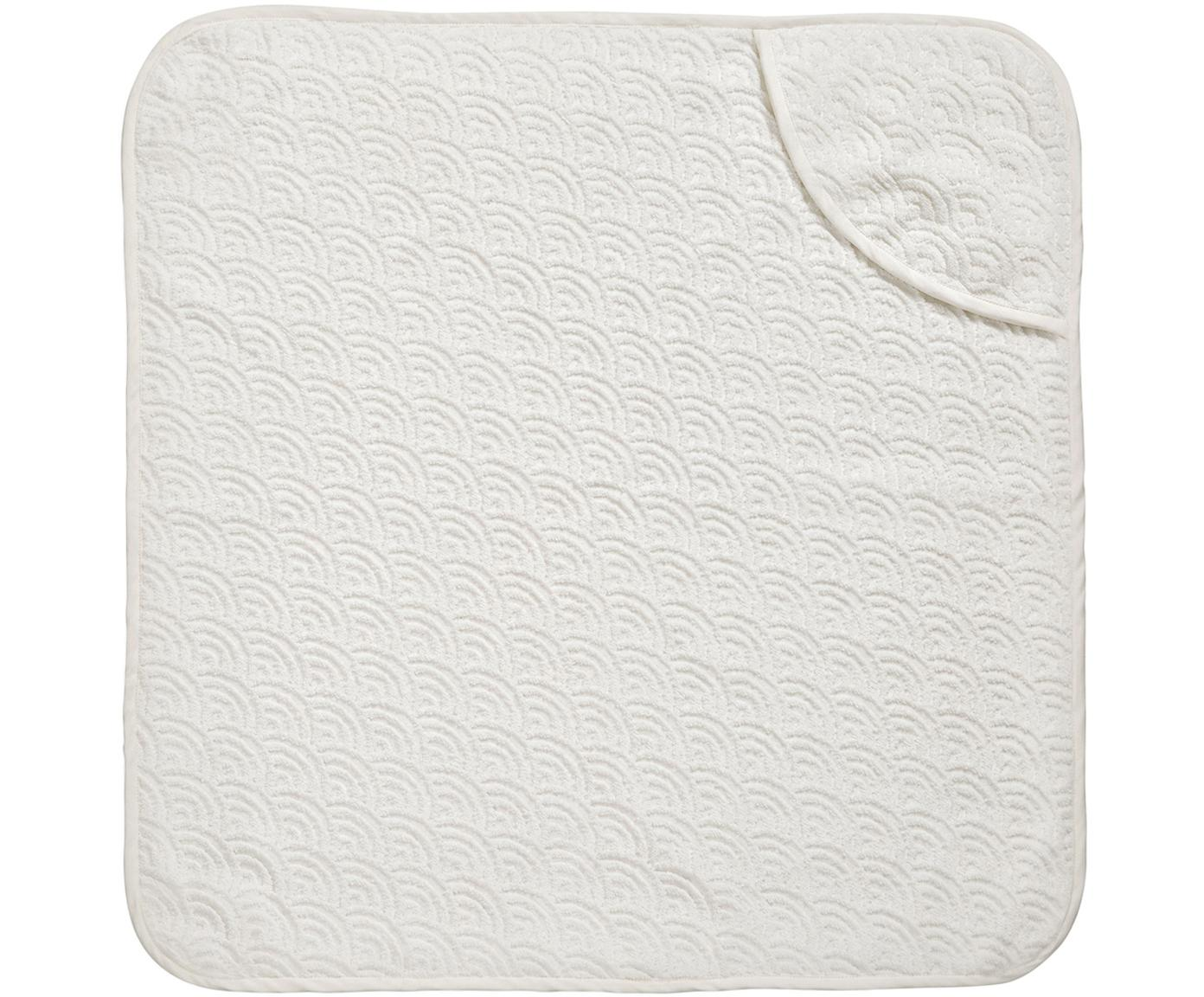 Badcape Wave, Organisch katoen, Gebroken wit, 80 x 80 cm