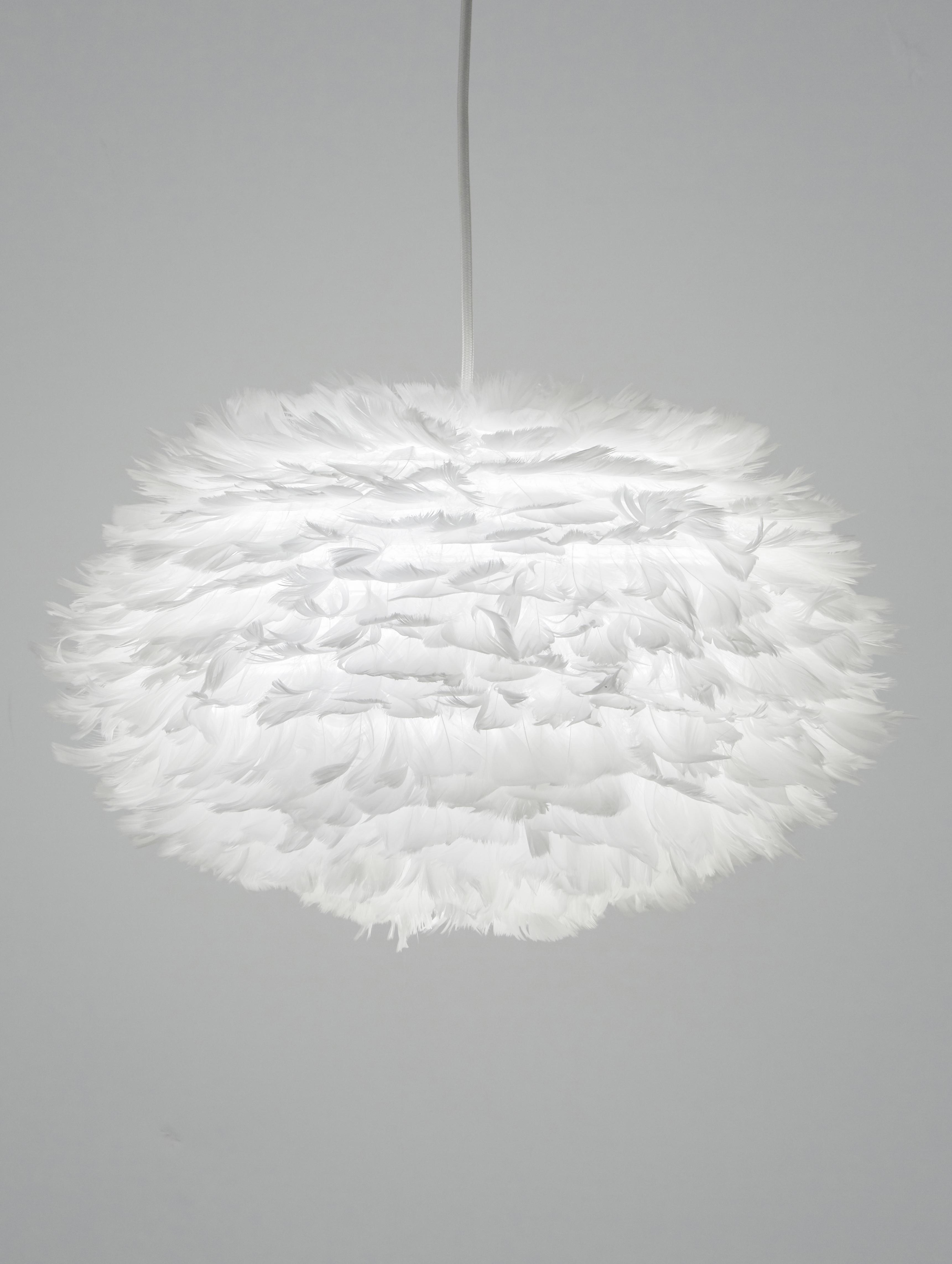 Lampenschirm Eos aus Federn, Gänsefedern, Stahl, Weiß, Ø 45 x H 30 cm