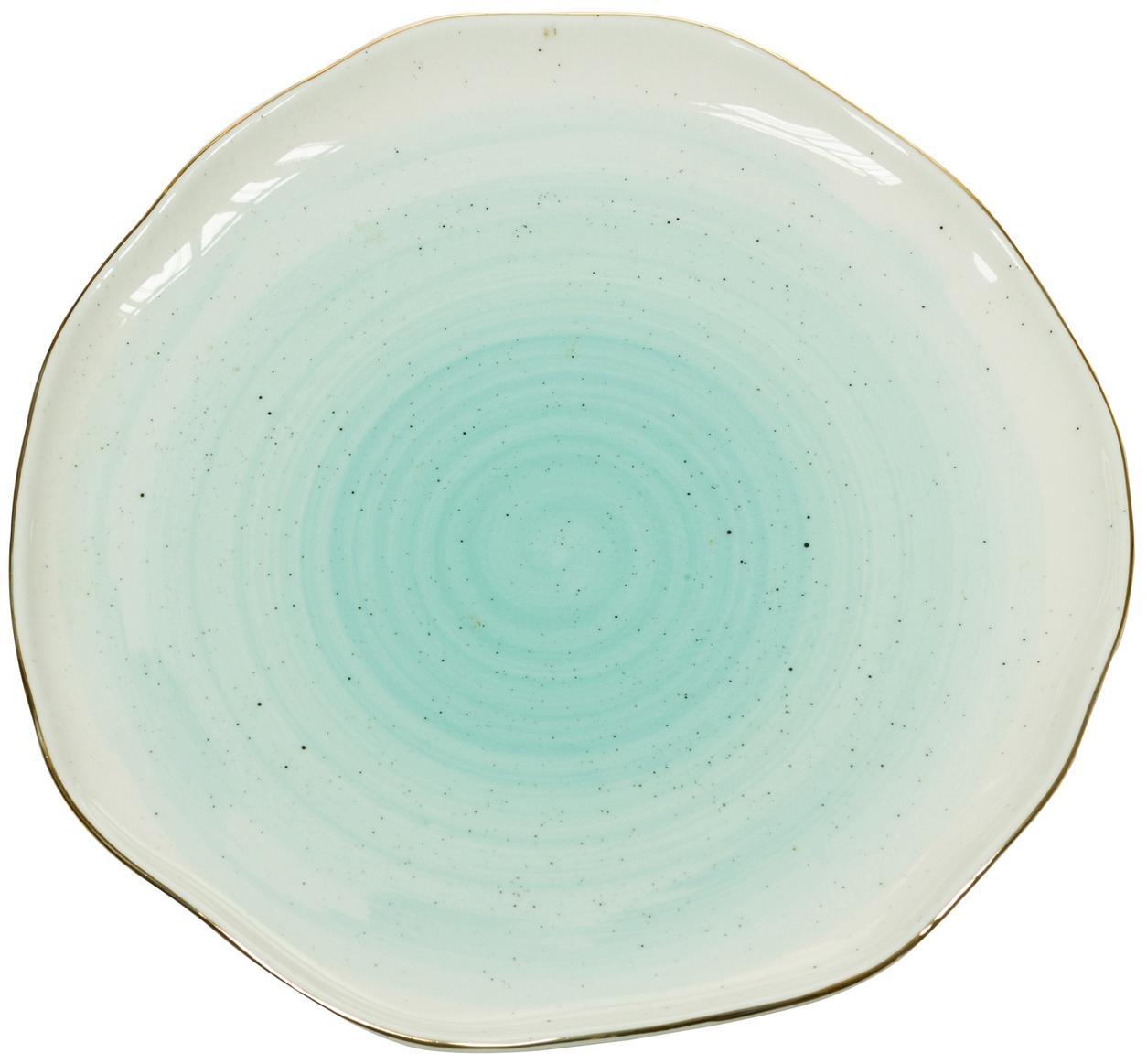 Piattino da dessert fatto a mano Bol 2 pz, Porcellana, Blu turchese, Ø 19 x Alt. 3 cm